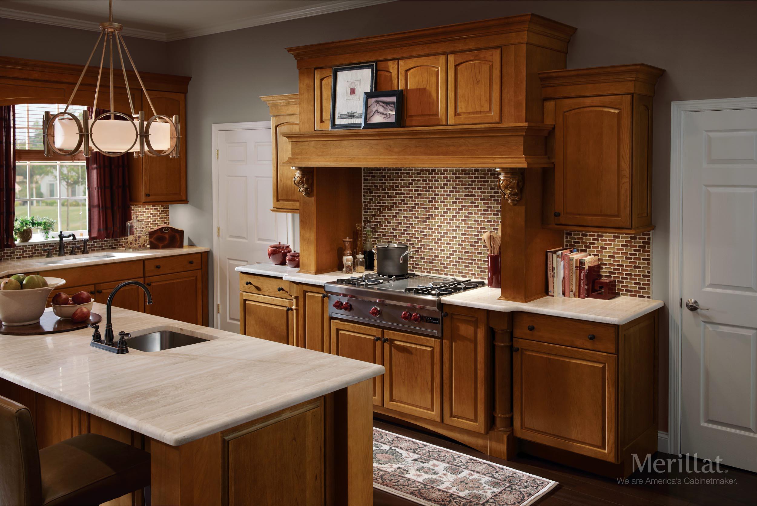 Merillat Kitchen Cabinets Merillat Masterpiecer Fox Court In Cherry Golden Lager Merillat