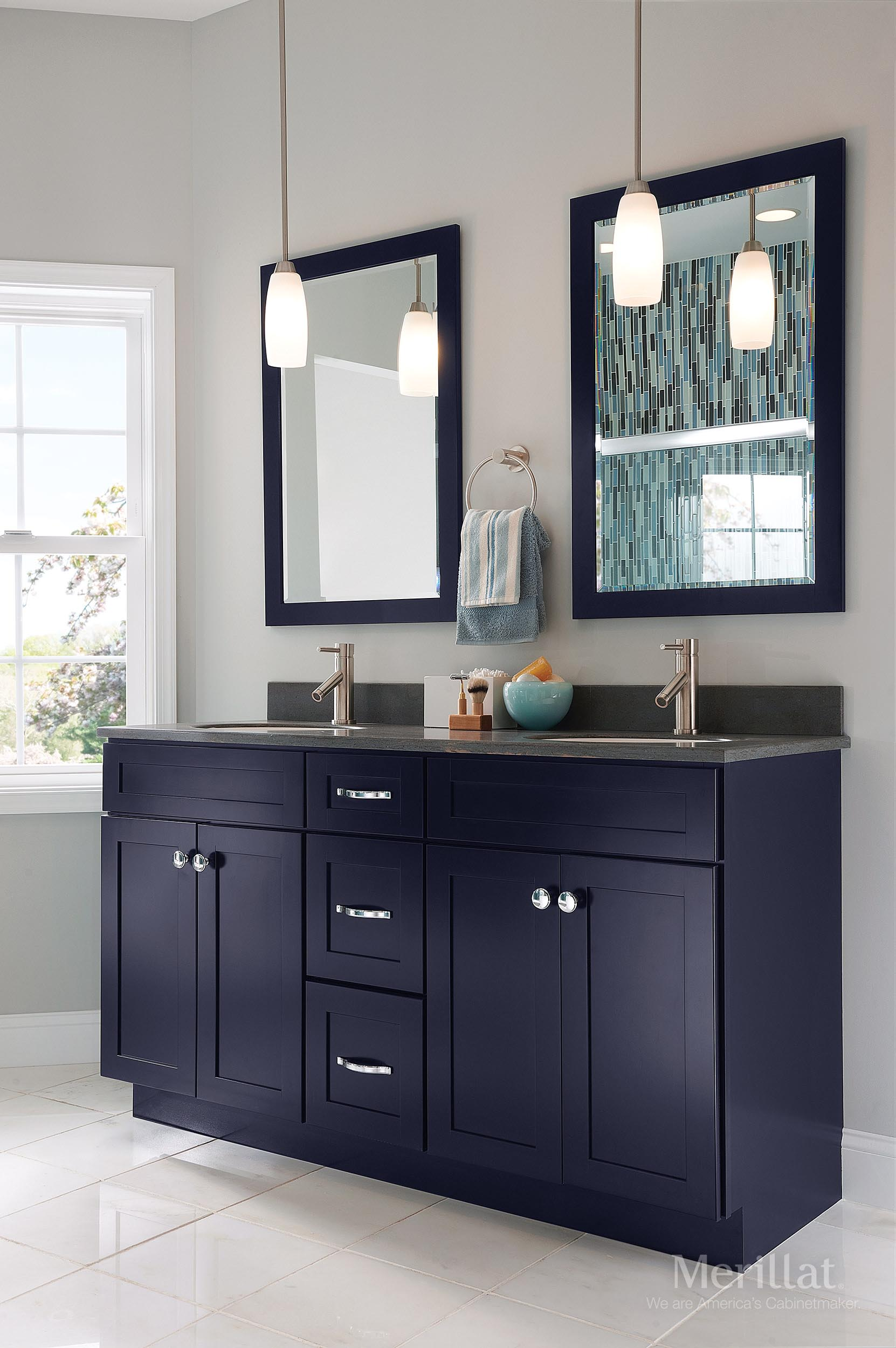 Merillat masterpiece martel in maple midnight painted Kraftmaid bathroom cabinets