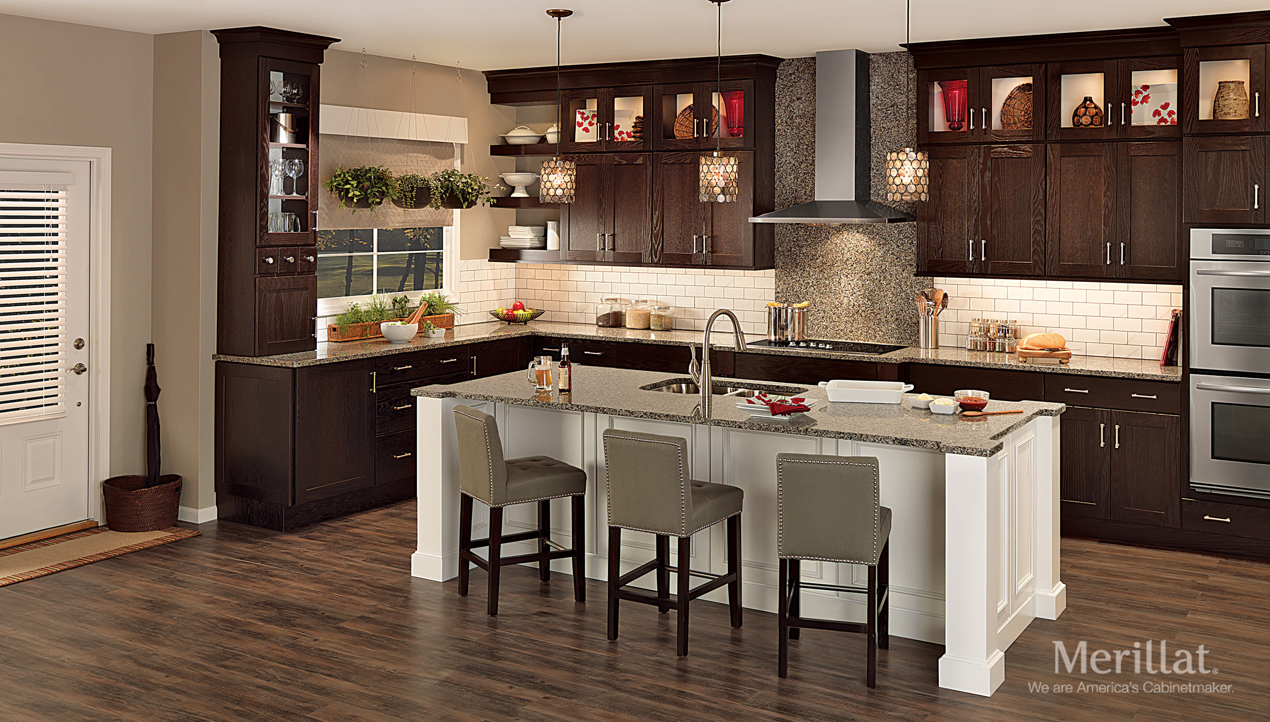 merillat classic tolani in oak kona and merillat classic cannonsburg in maple cotton - Merillat Classic Kitchen Cabinets