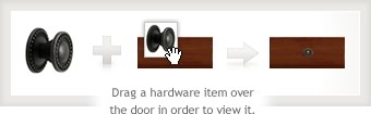 Drag a hardware item over the door in order to view it