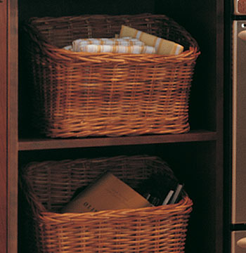 Wall Open Cabinet with Wicker Baskets