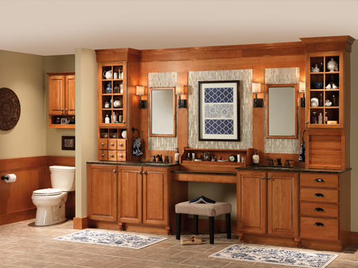 Merillat cabinets and vanity storage keep any bathroom organized