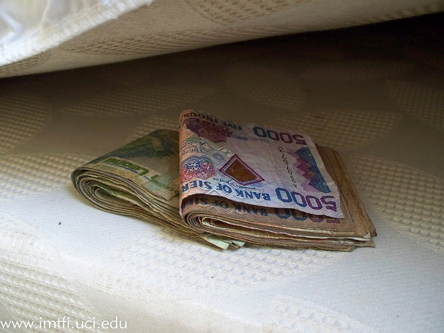 Money under mattress