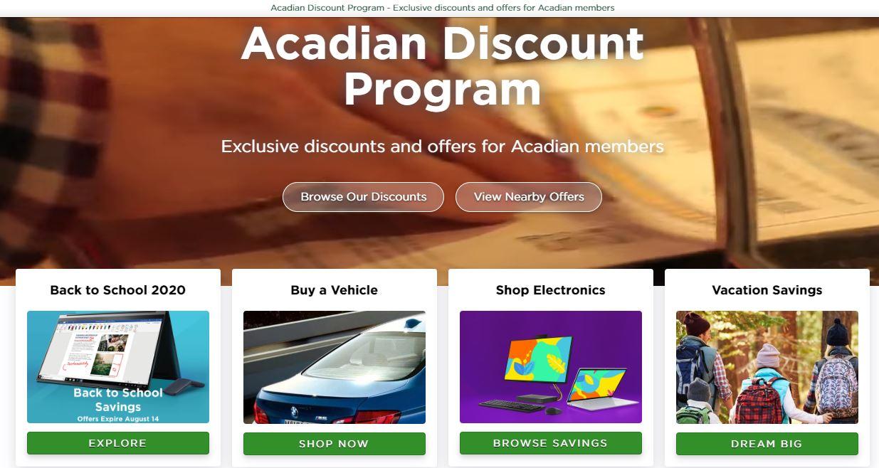 Acadian Discounts dashboard
