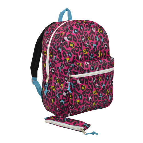 Trailmaker 17 inch Pink Leopard Print Backpack for Girls
