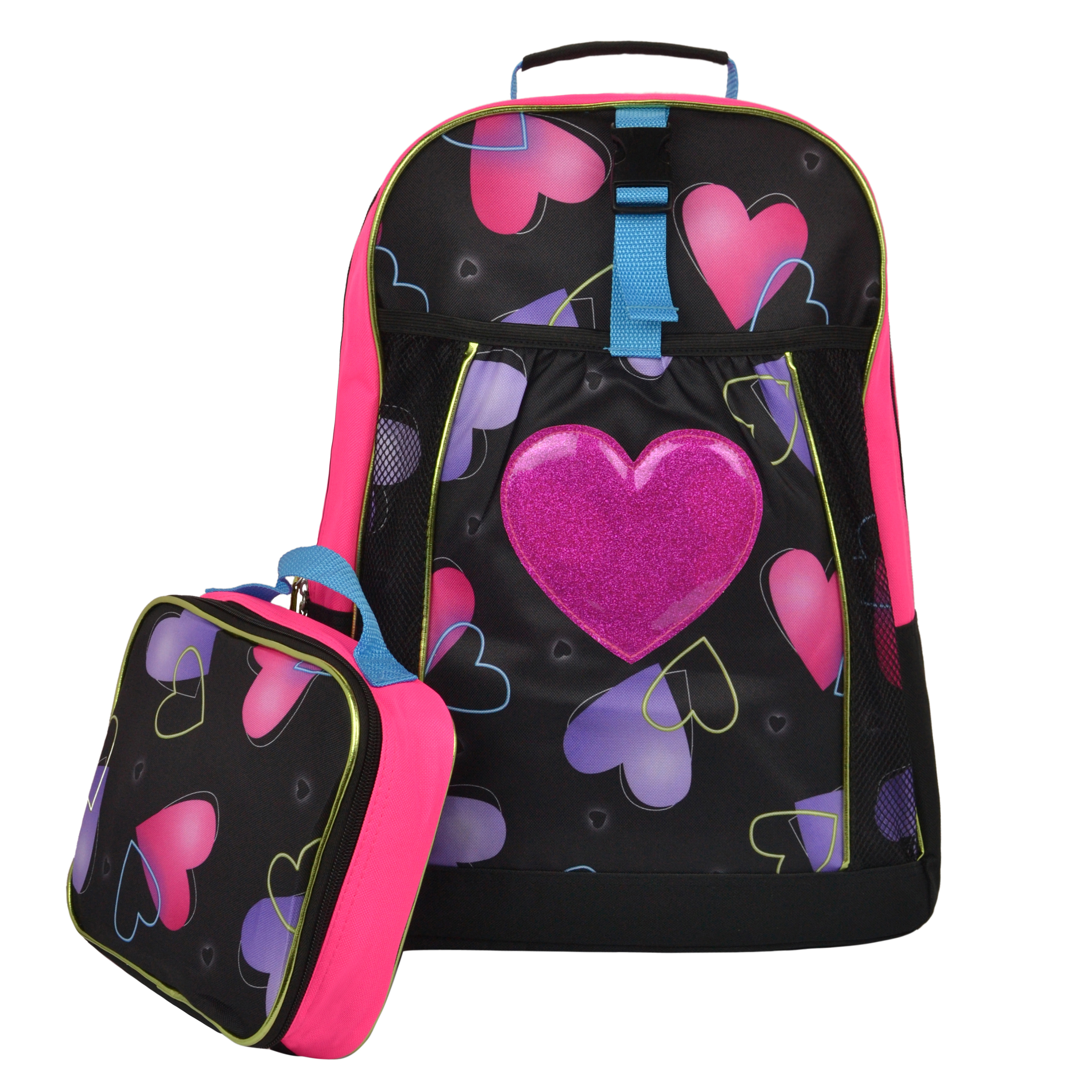Pink Hearts Kids School Backpack with Lunch Bag