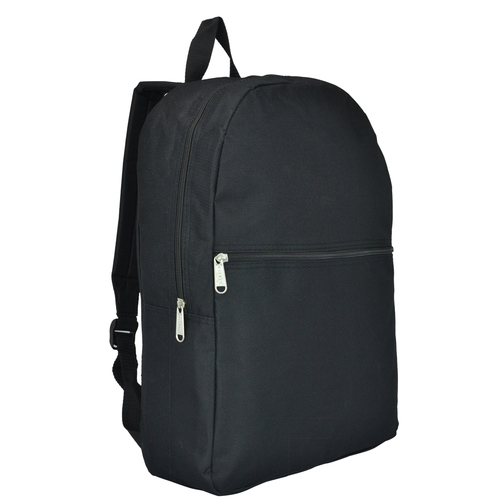Basic 16.5 Inch Wholesale School Book Bags in Bulk - Black