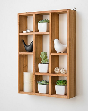 wall mount 9 slot rustic wood floating shelves freestanding shadow box ebay. Black Bedroom Furniture Sets. Home Design Ideas