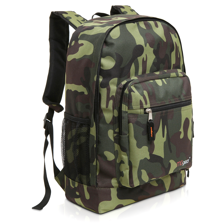 MGgear 17.5 inch Multi-Pocket School Book Bags In Bulk, Woodland Camo
