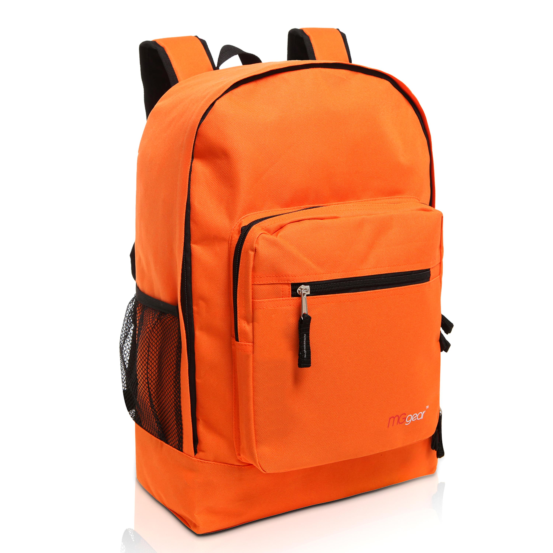 MGgear 17.5 inch Multi-Pocket School Book Bags In Bulk, Orange