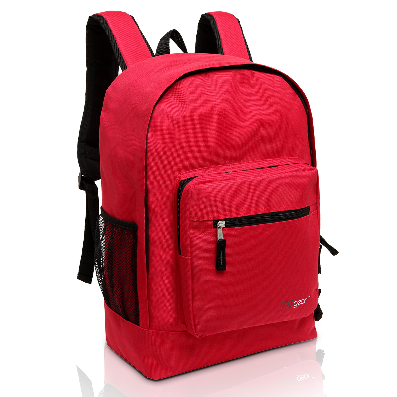 MGgear 17.5 inch Multi-Pocket School Book Bags In Bulk, Red