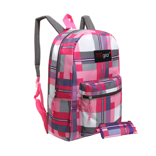 MGgear 16.5 inch Pink Plaid Wholesale Backpacks For Girls