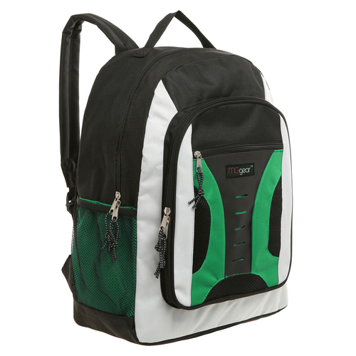 MGgear 16.5 inch Mid-Size Cool Backpack For Kids, Bulk Case of Green
