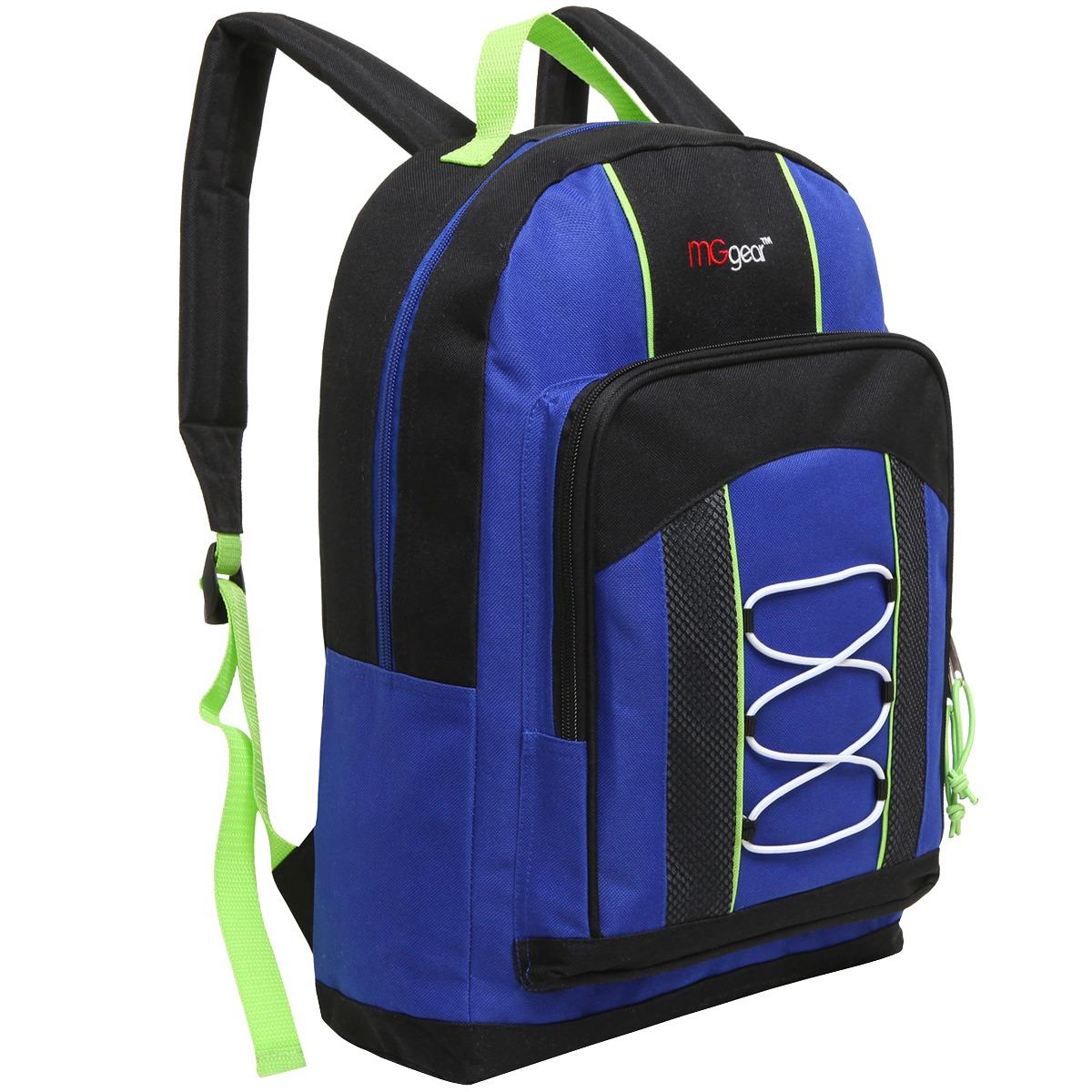 MGgear 15.5 Inch Bungee Pocket Elementary School Backpack For Kids, Blue