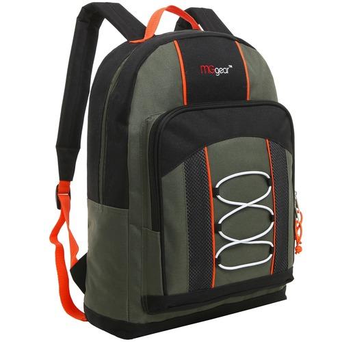 MGgear 15.5 Inch Bungee Pocket Elementary School Backpack For Kids, Green