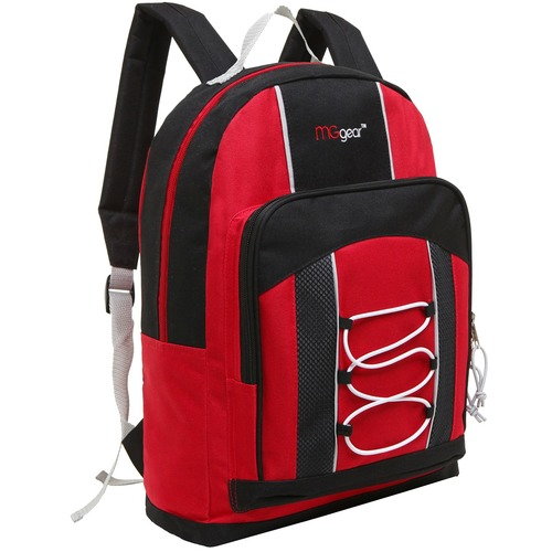 MGgear 15.5 Inch Bungee Pocket Elementary School Backpack For Kids, Red