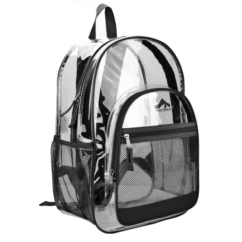 Clear 17 inch Kids School Book Bag with Black Trim
