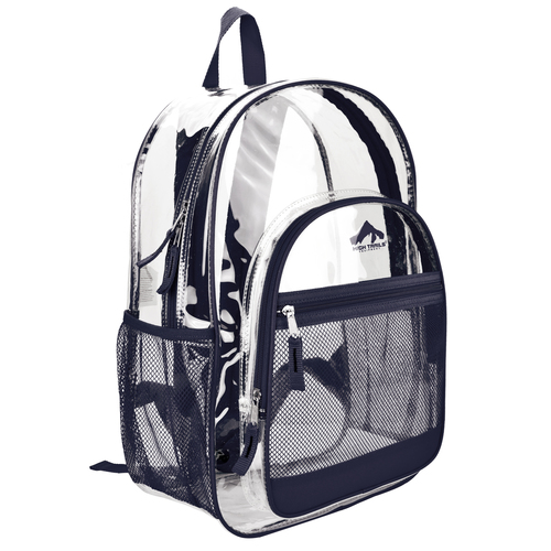 Clear 17 inch Kids School Book Bag with Navy Blue Trim