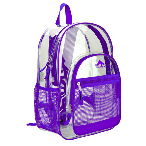 Clear 17 inch Kids School Book Bag with Purple Trim