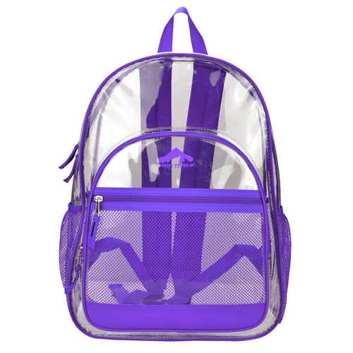 Kids purple clear security school book bag wholesale pvc back ...