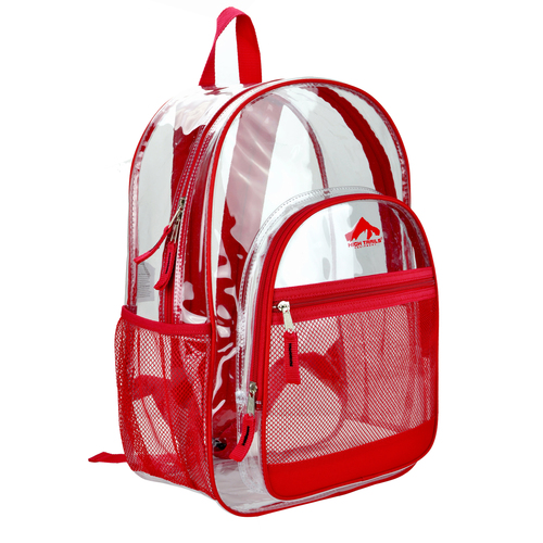 Clear 17 inch Kids School Book Bag with Red Trim
