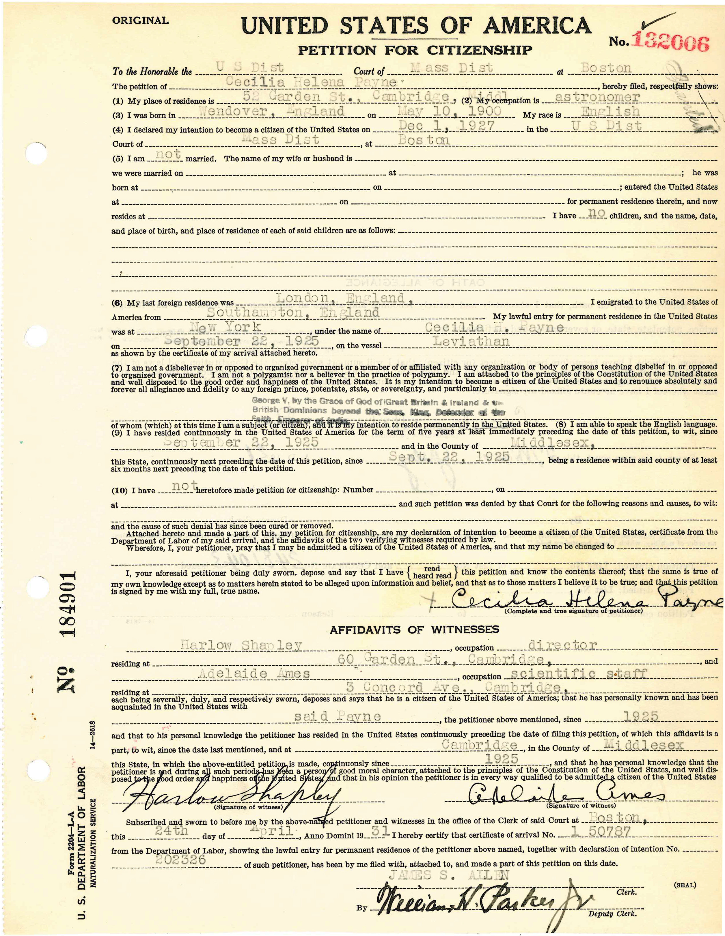 Petition for Citizenship of Cecilia Helena Payne