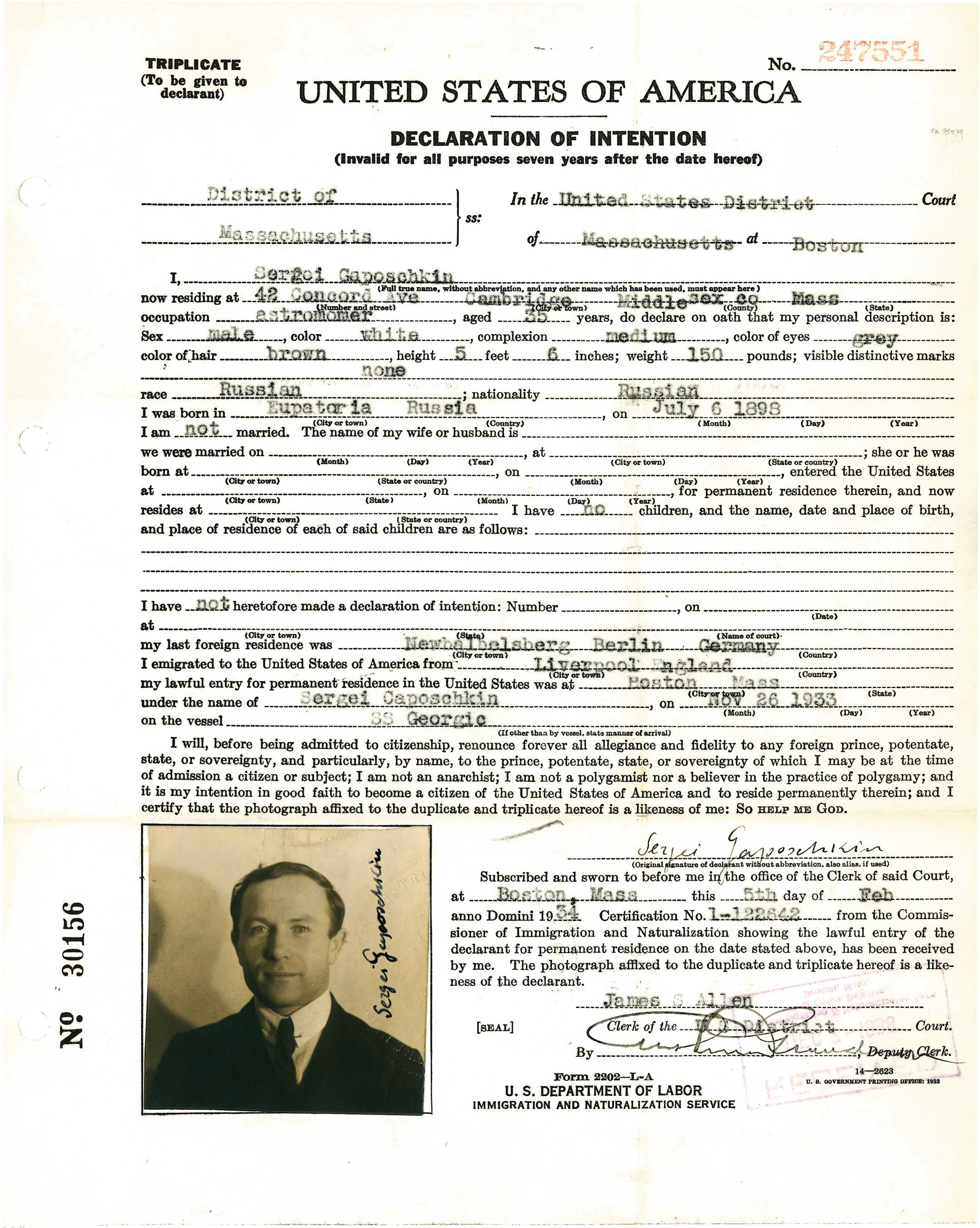 Declaration of Intention of Sergei Gaposchkin