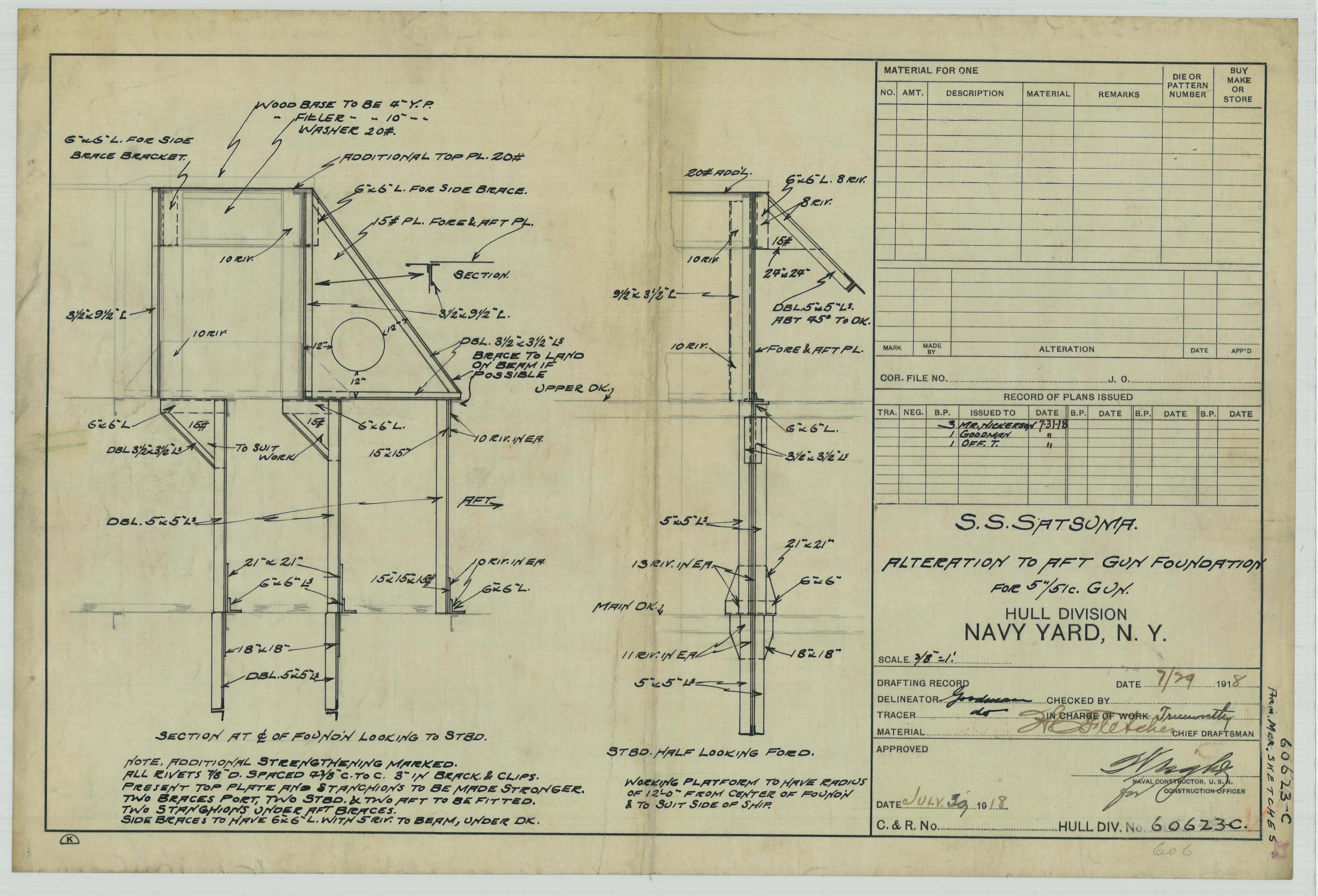 USS Satsuma (ID-2038): Alteration to Aft Gun Foundation for 5/51c. Gun.