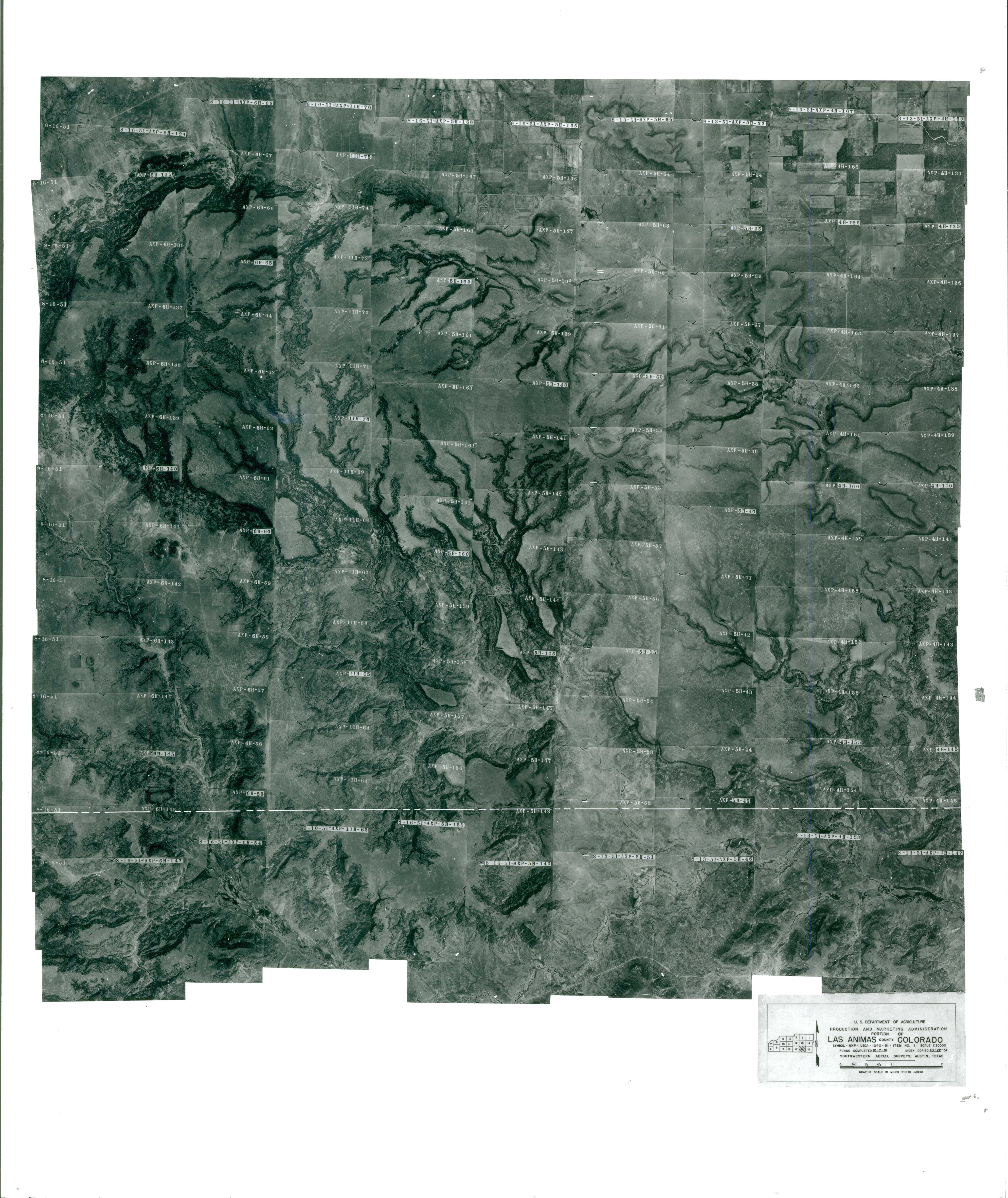 Aerial Photography Index for Las Animas County, Colorado, Sheet 16