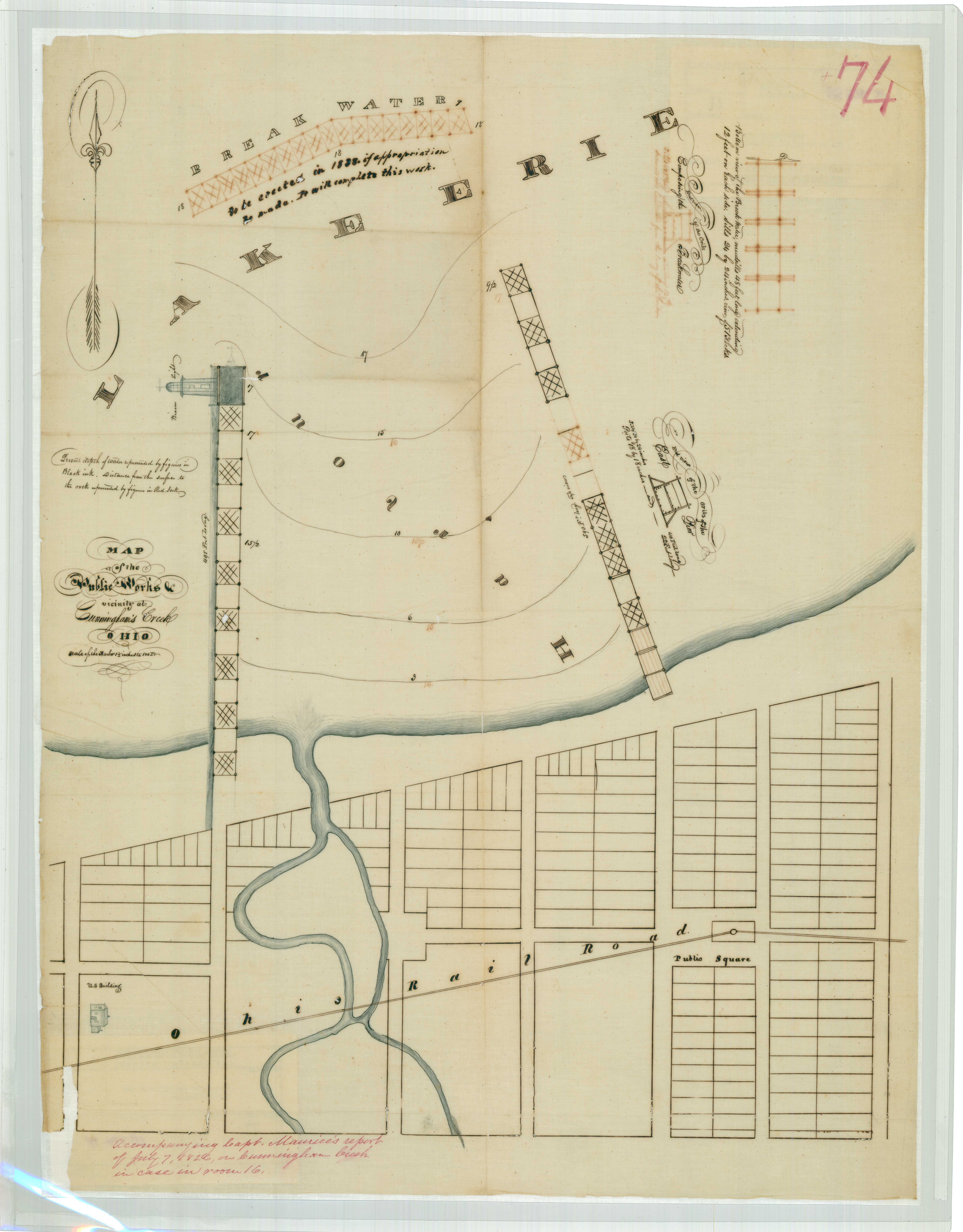 Map of the Public Works in the vicinity of Cunningham's Creek, Ohio