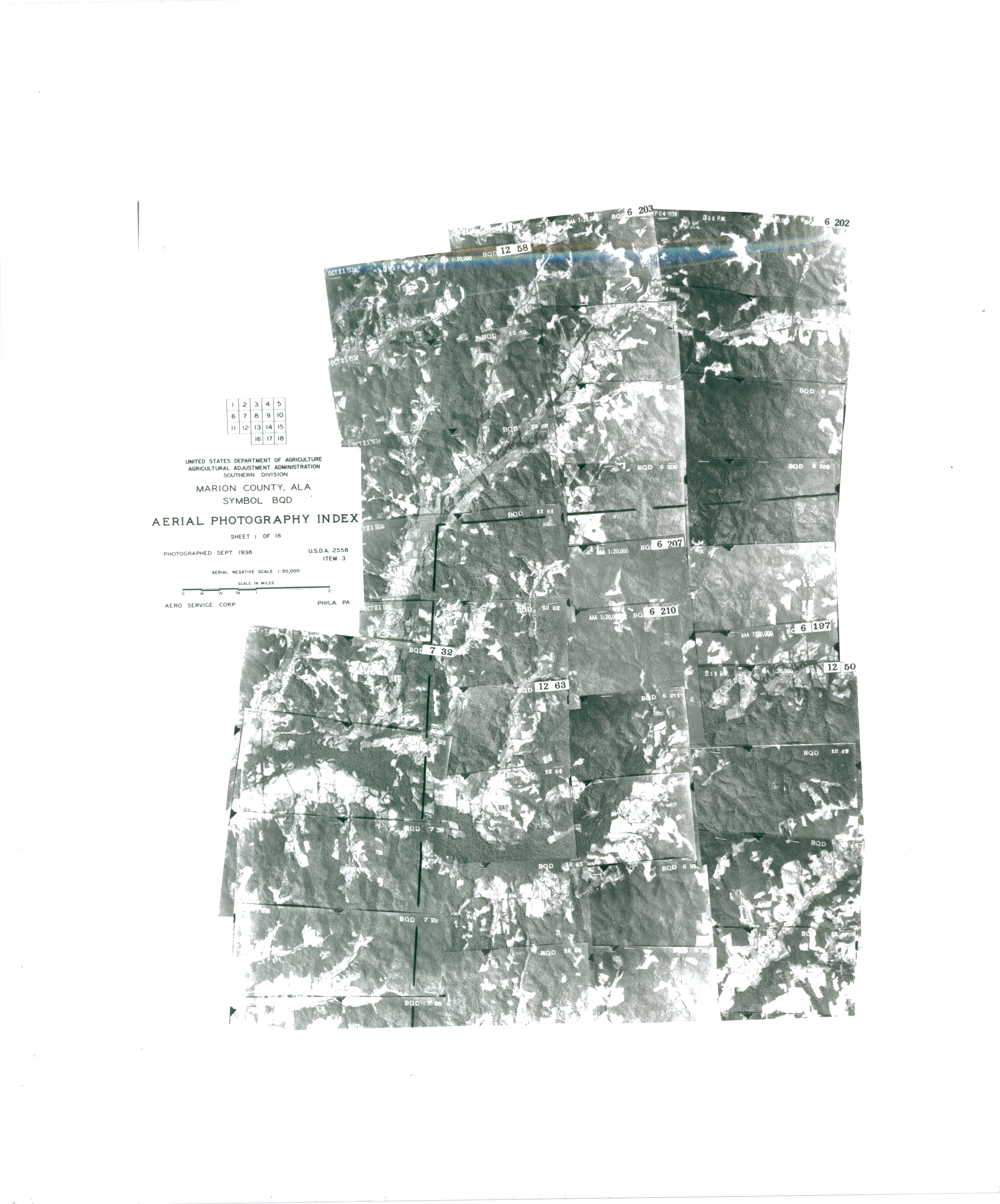 Aerial Photography Index for Marion County, Alabama, Sheet 1