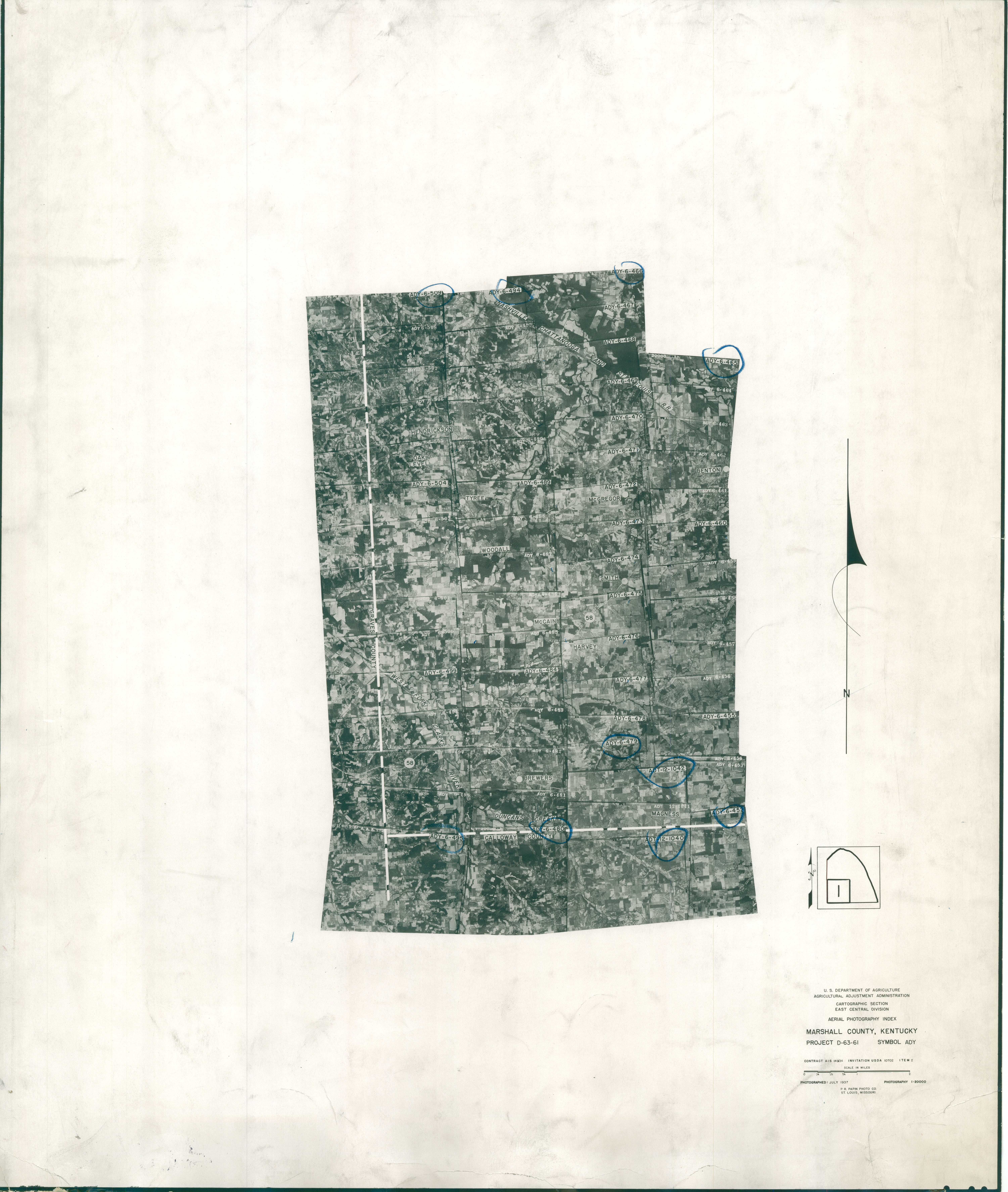 Index to Aerial Photography of Marshall County, Kentucky 1
