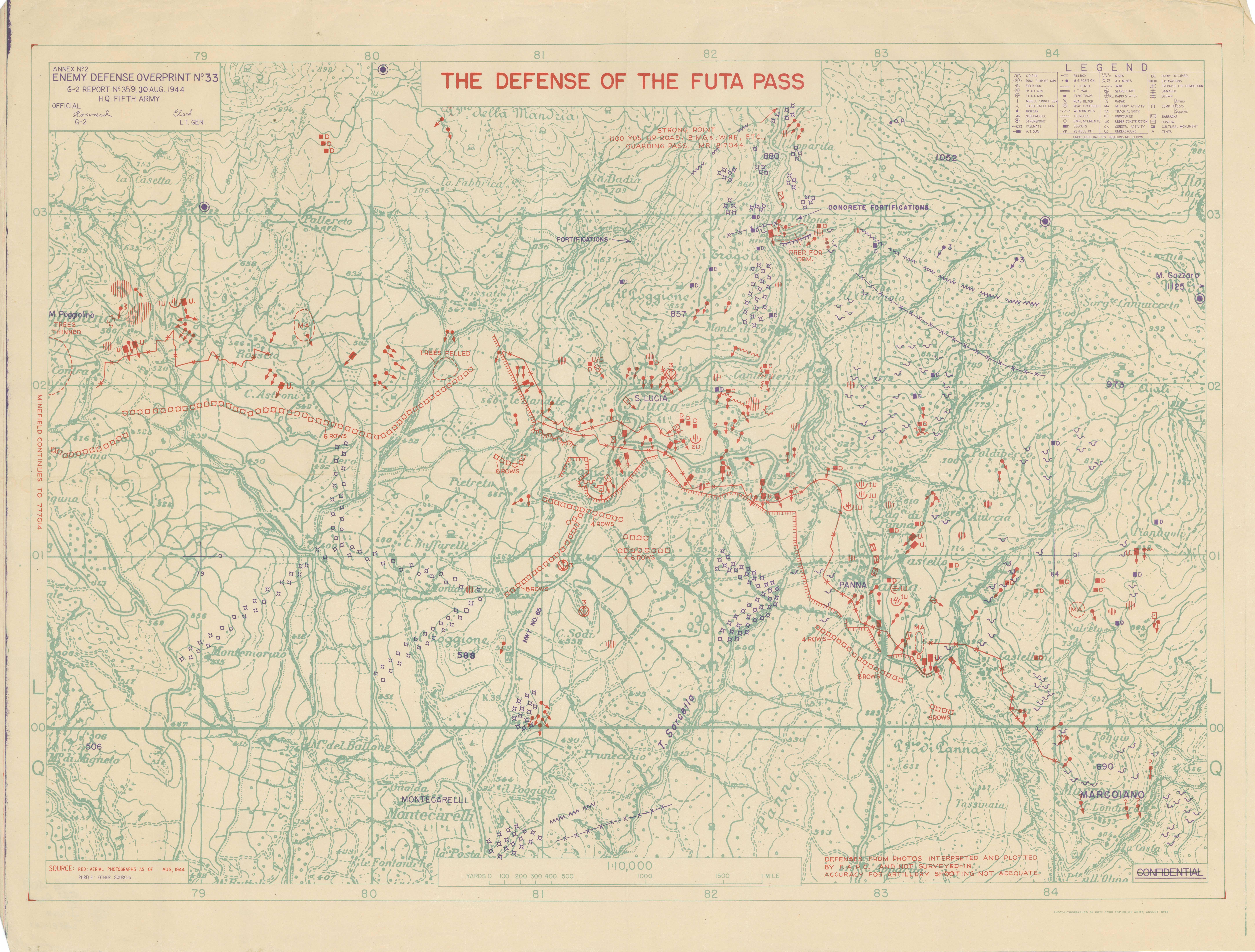 Enemy Defense Overprint No. 33 Defense of the Futa Pass