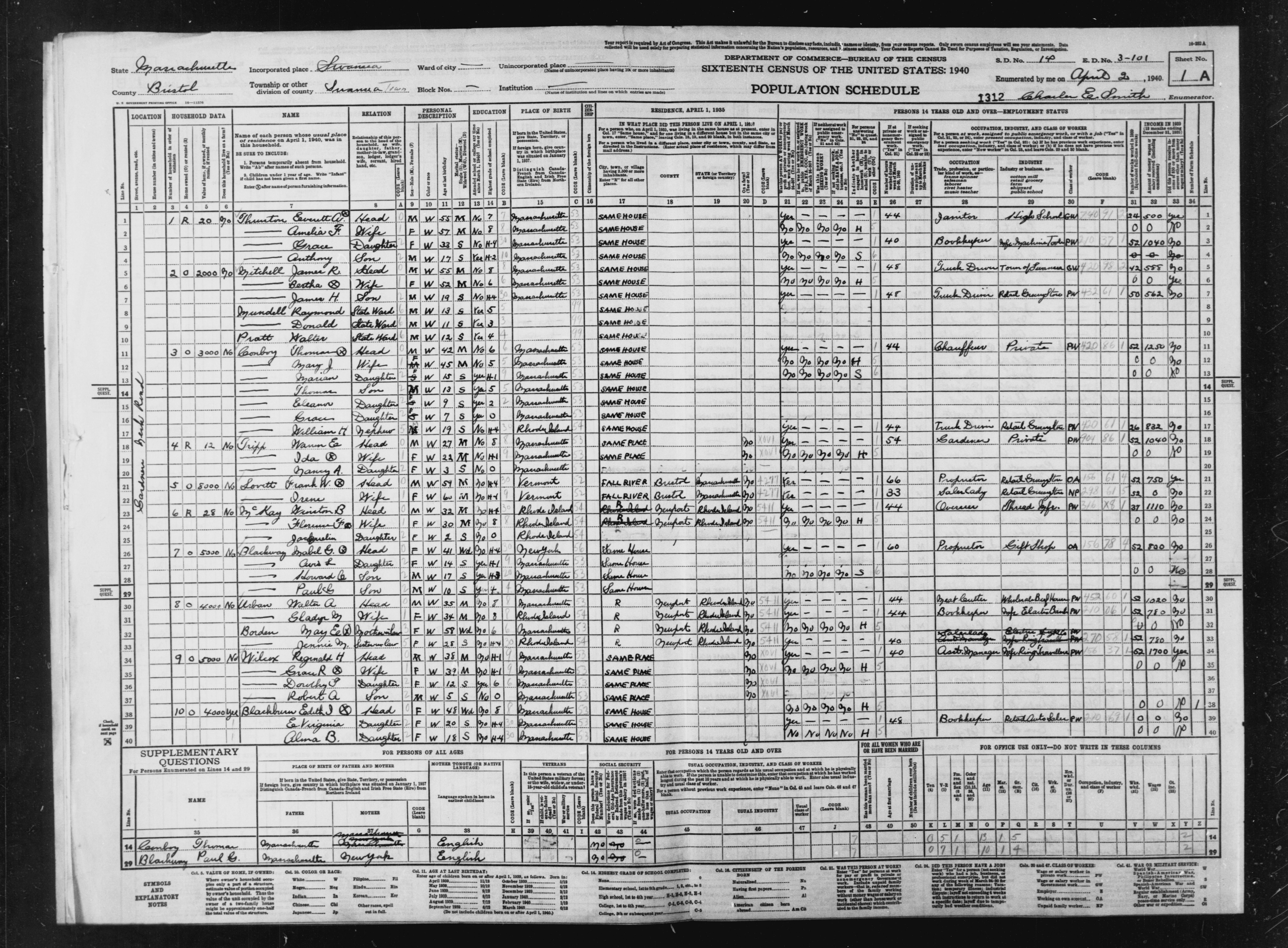 1940 Census Population Schedules - Massachusetts - Bristol County - ED 3-101