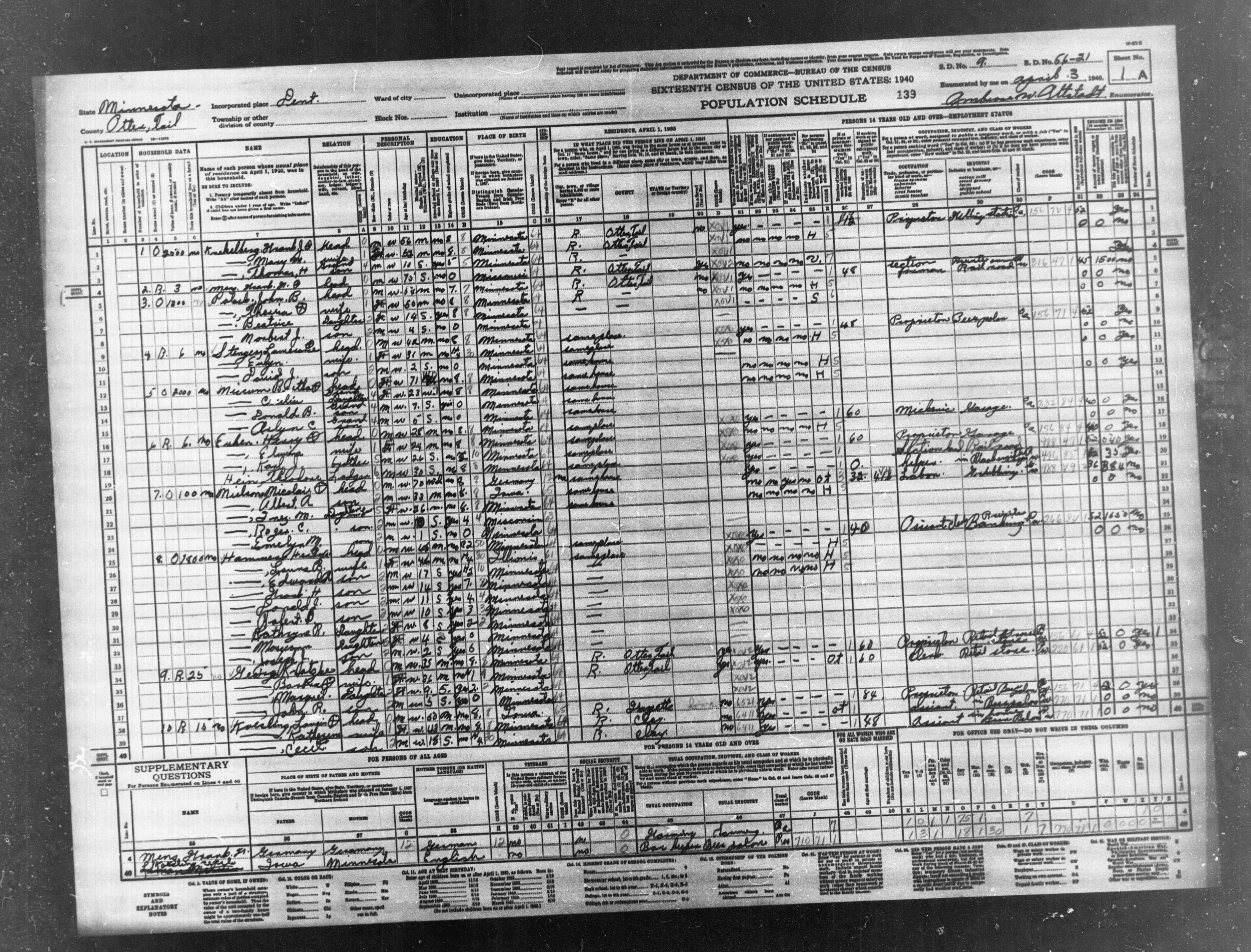 1940 Census Population Schedules - Minnesota - Otter Tail County - ED 56-21