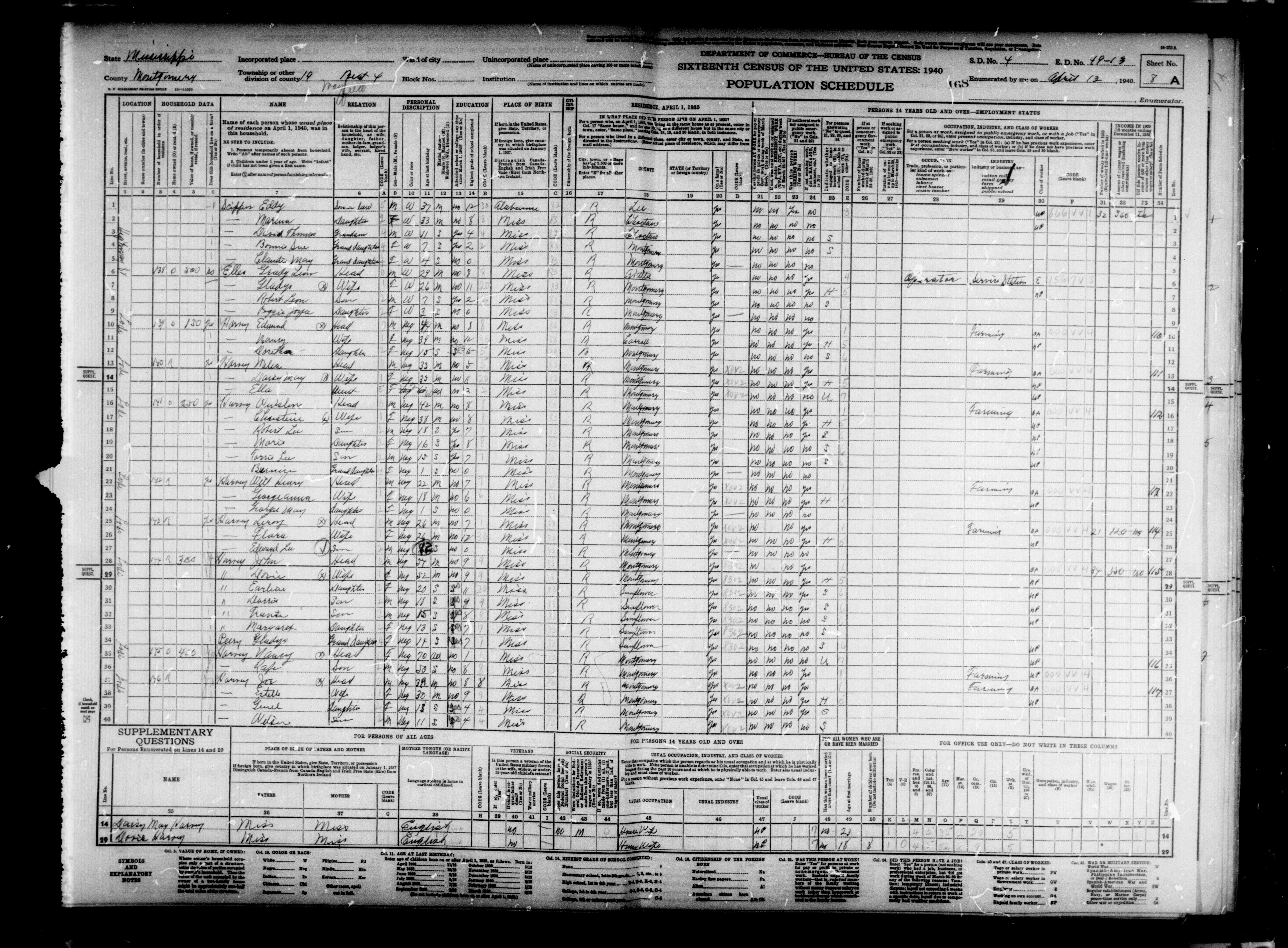 1940 Pop. Census Schedule for Mississippi- Montgomery County