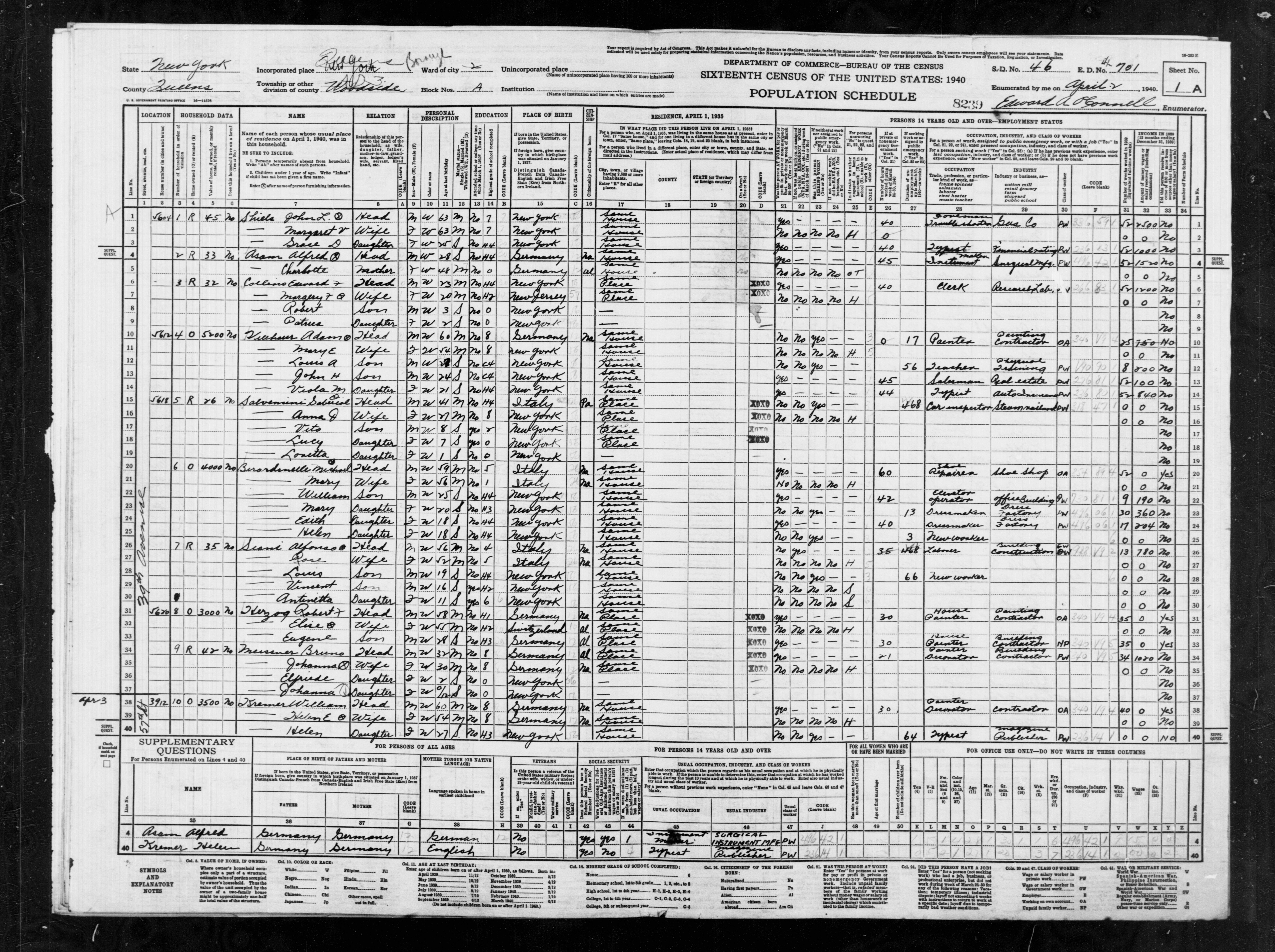 1940 Census Population Schedules - New York - Queens County - ED 41-701