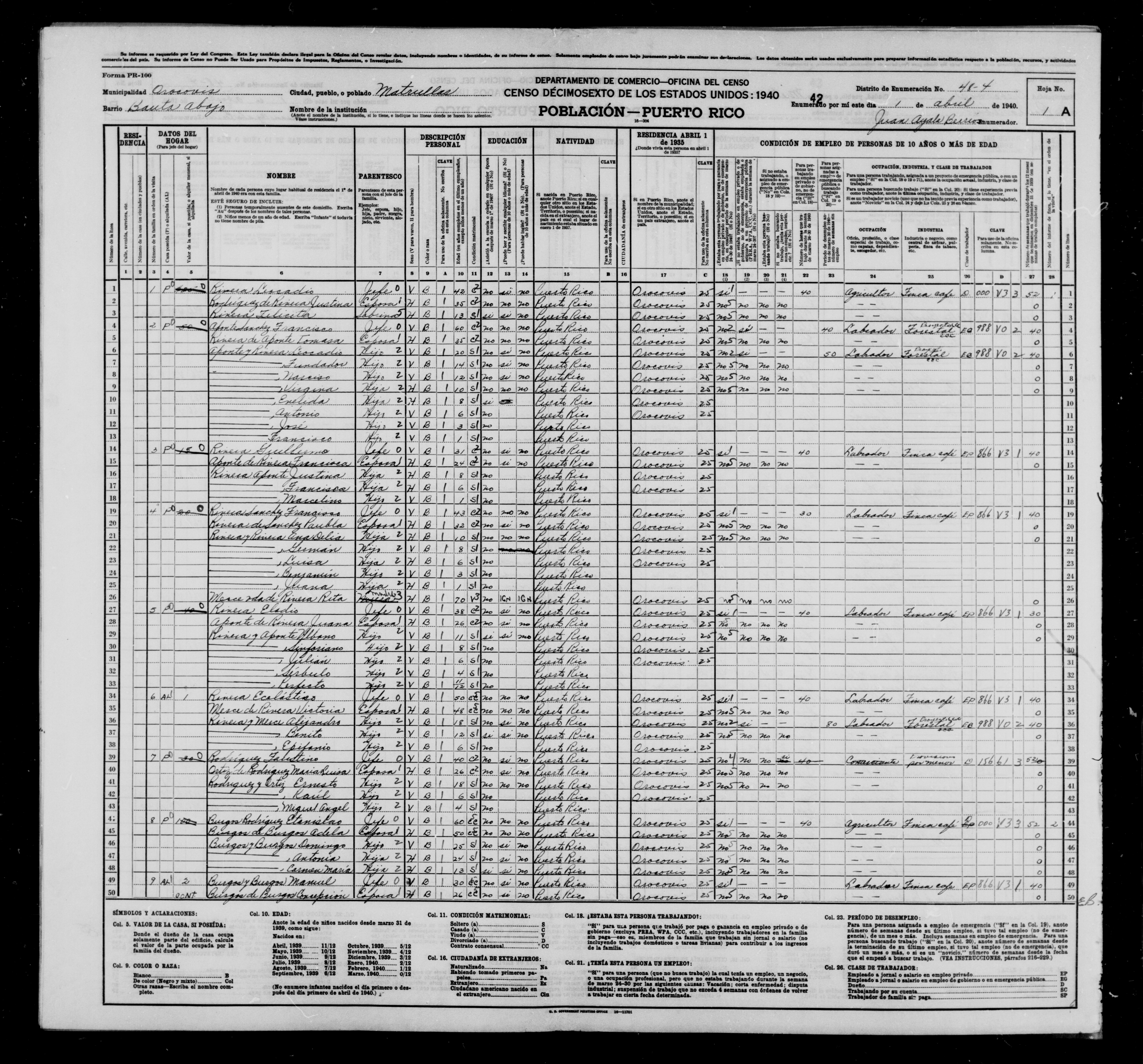 1940 Census Population Schedules - Puerto Rico - Orocovis County - ED 48-4