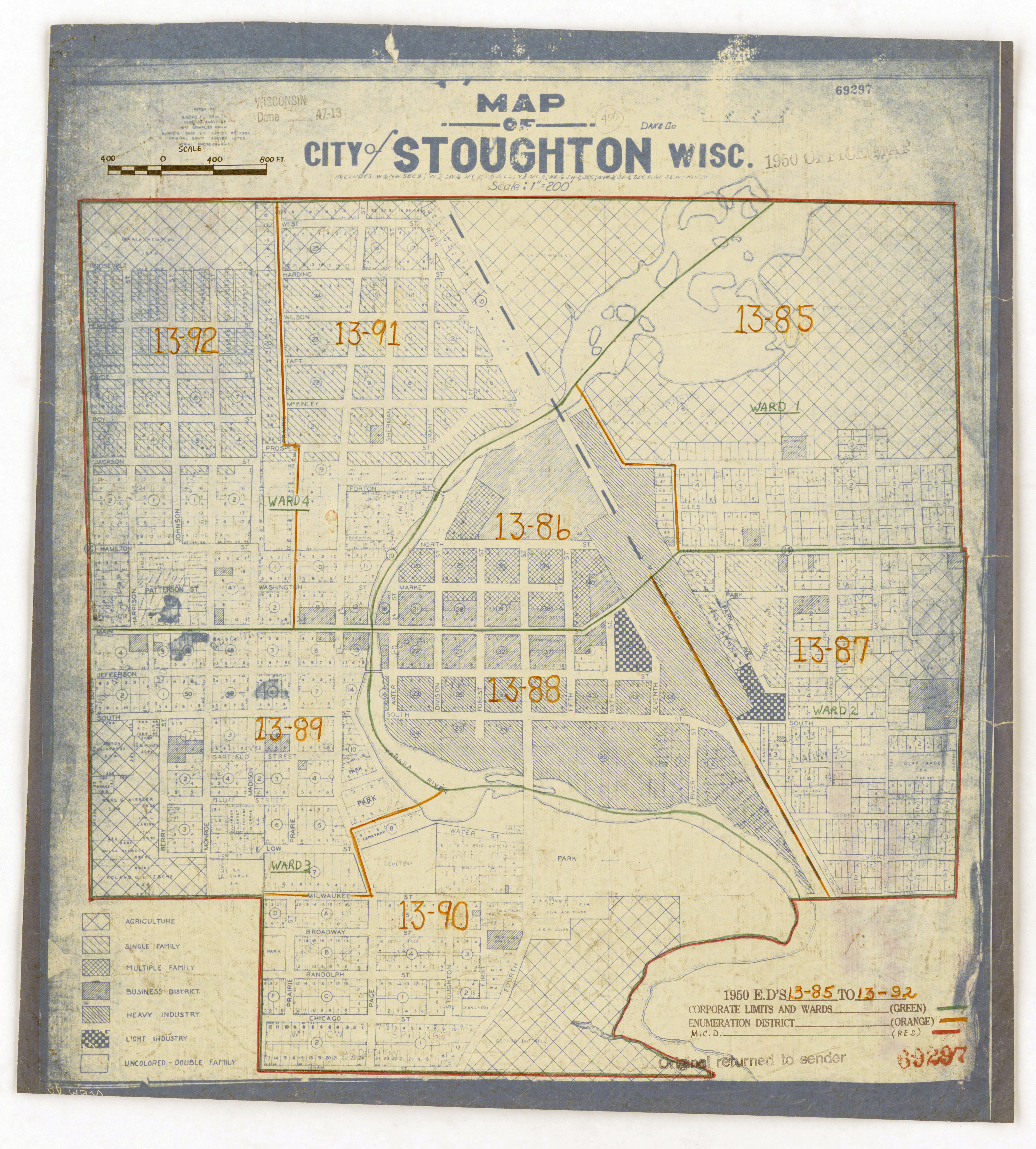 1950 Census Enumeration District Maps - Wisconsin (WI) - Dane County - Stoughton - ED 13-85 to 92