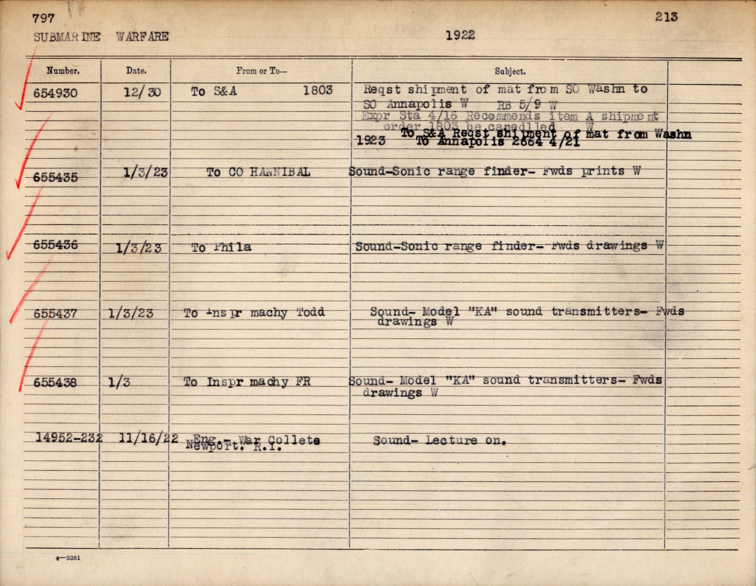 General Subject: 797 Submarine Warfare