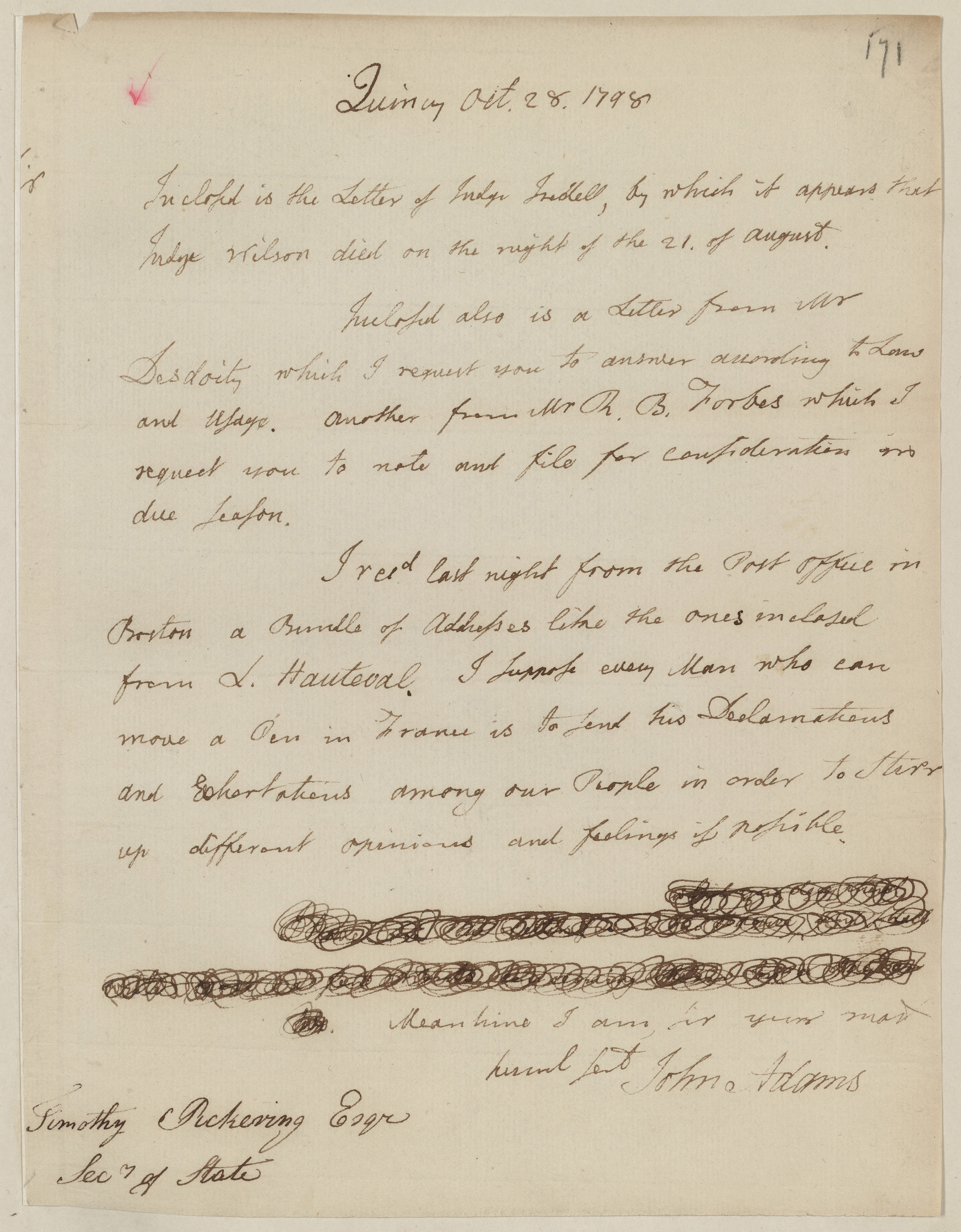 Letter from President John Adams to Secretary of State Timothy Pickering