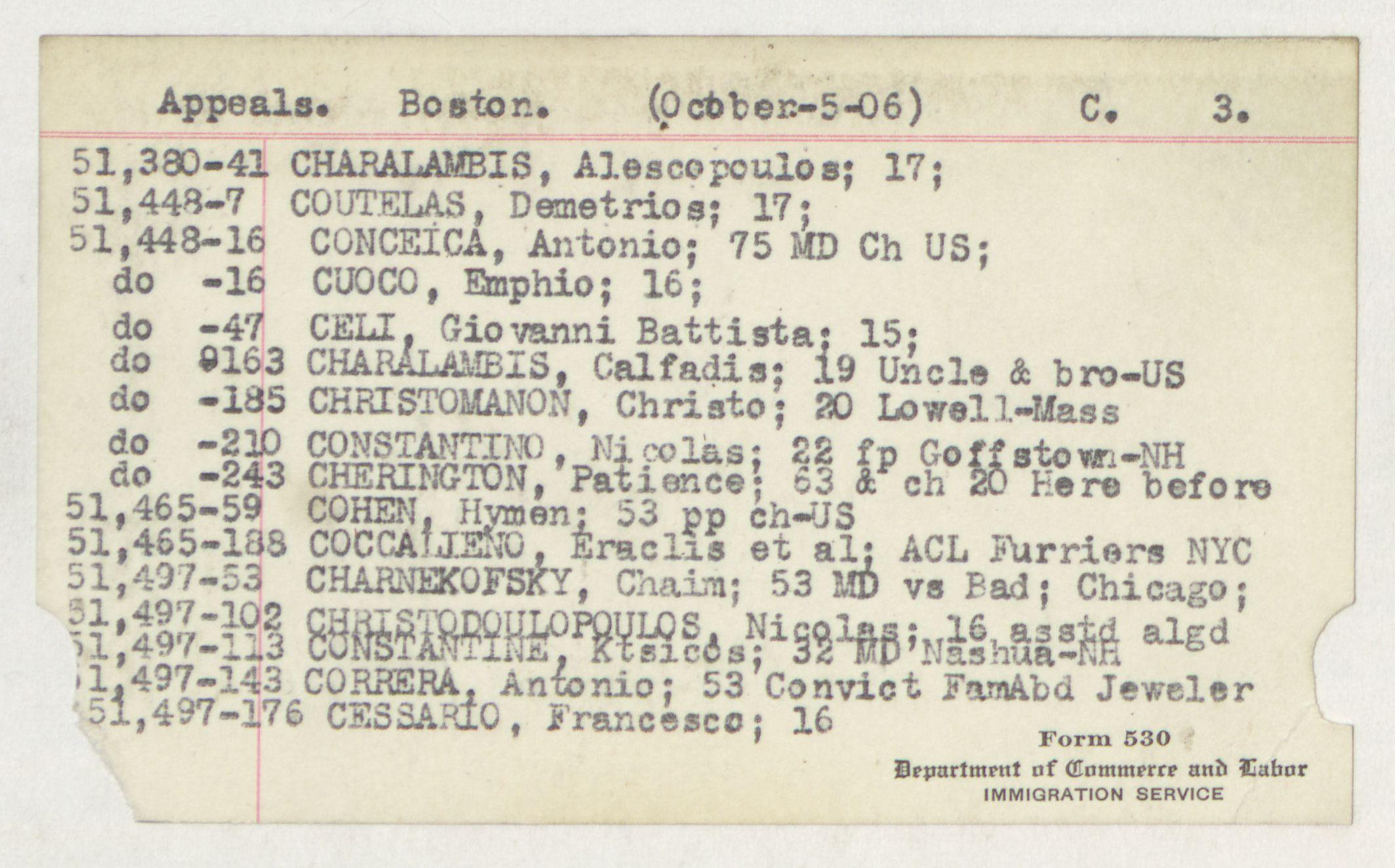 Index Card - C - Appeals - Boston - C - 3