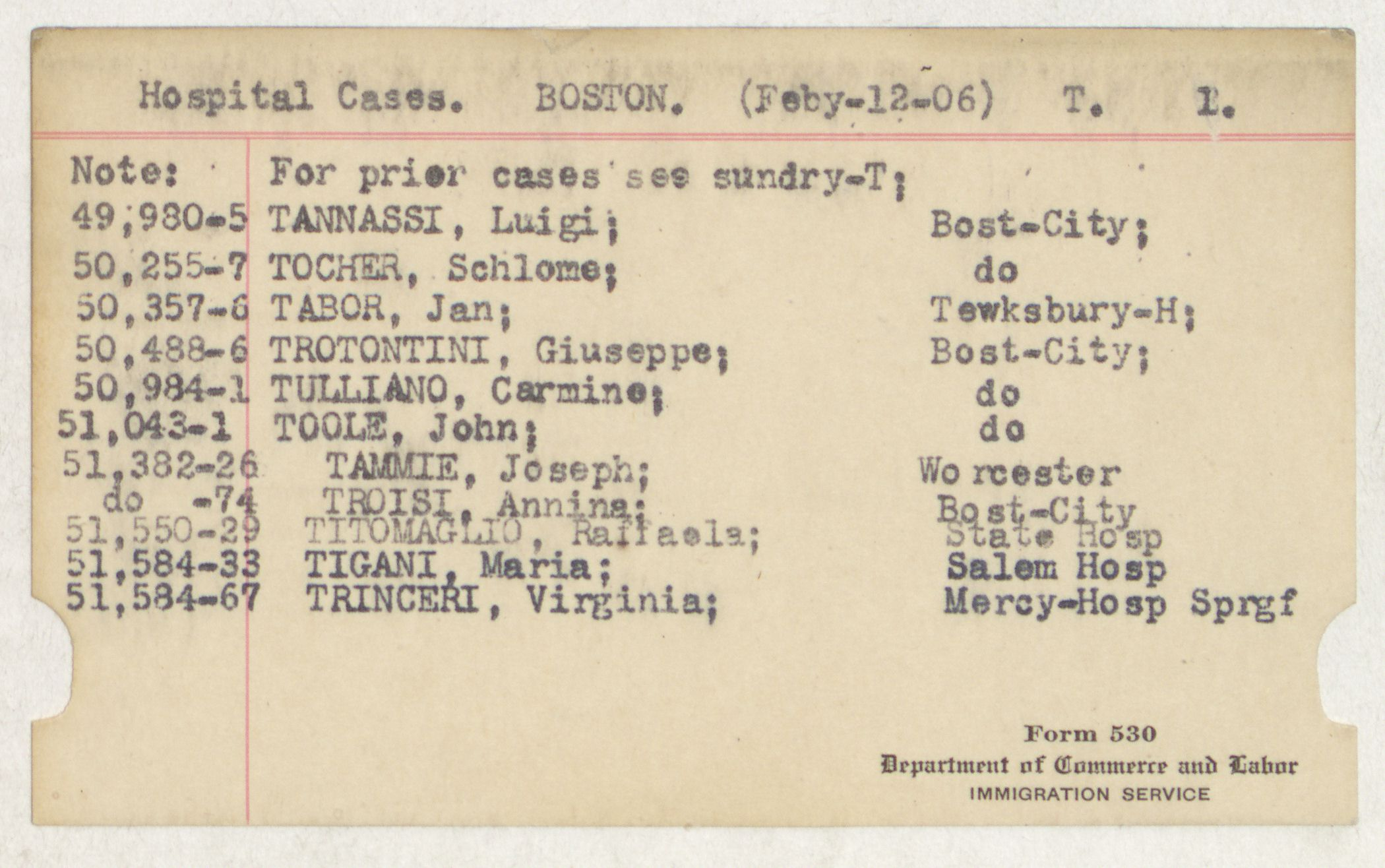 Index Card - T - Hospital Cases - Boston - T - 1