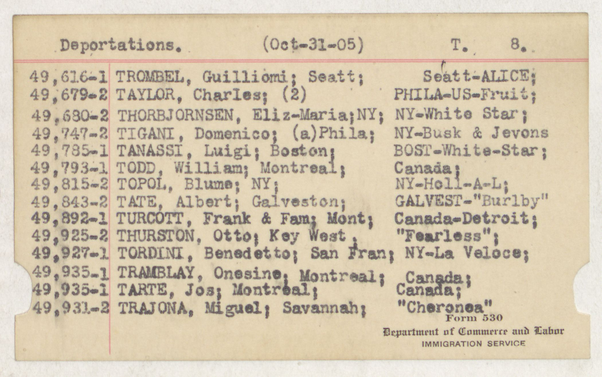 Index Card - T - Deportations - T - 8