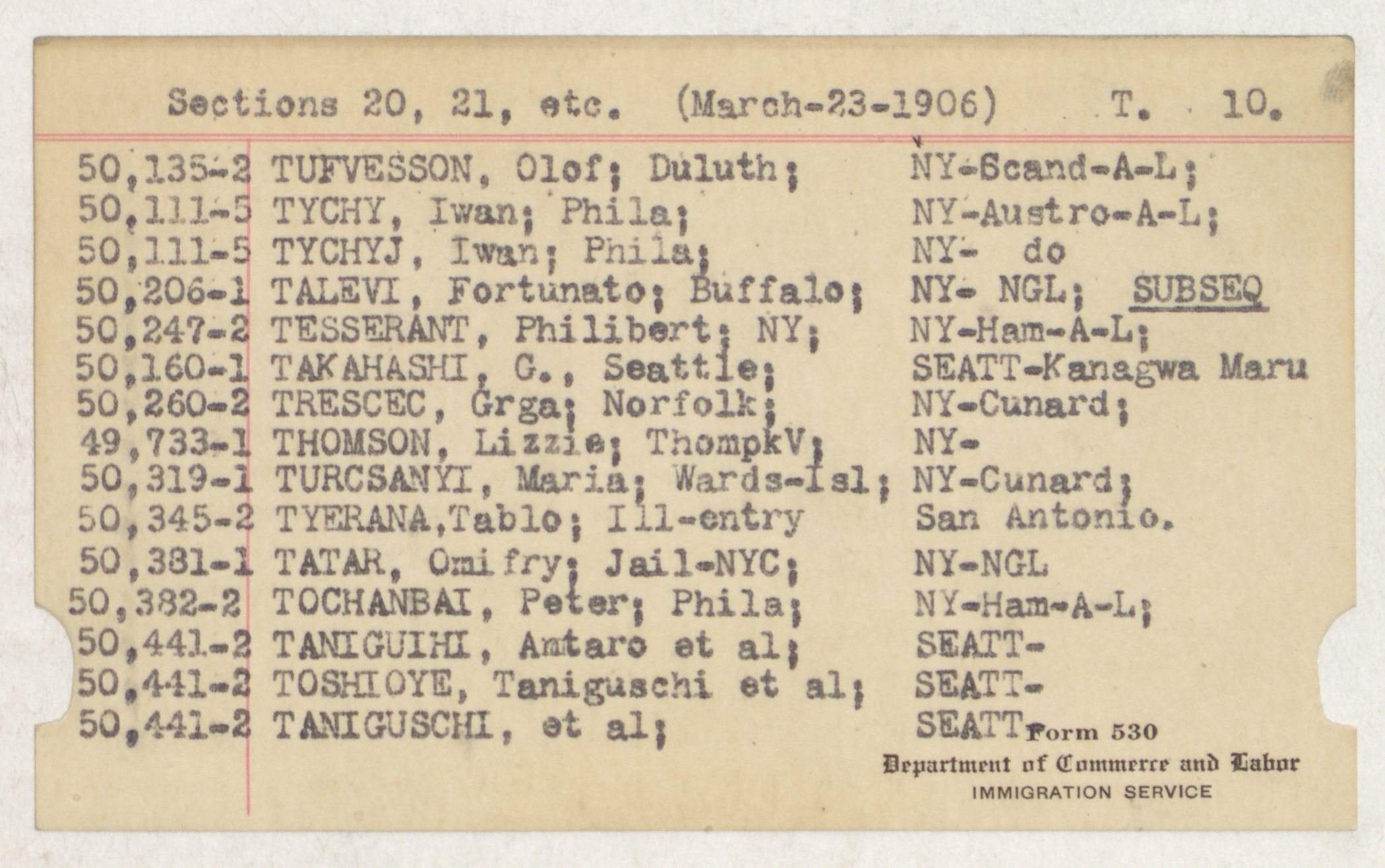 Index Card - T - Deportations [Sections 20 and 21, etc.] - T - 10