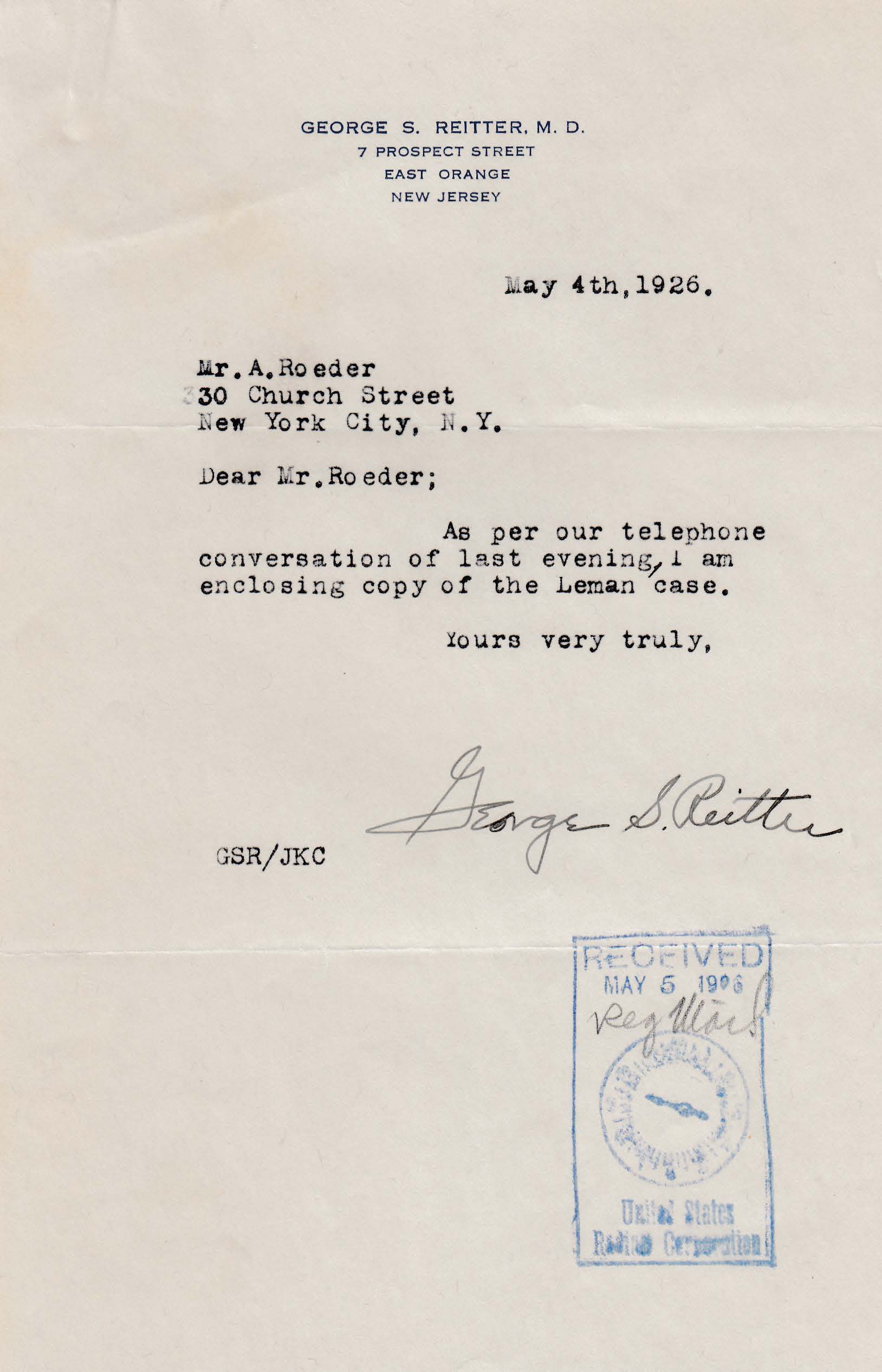 Letters Received to A. Roeder, May 4, 1926