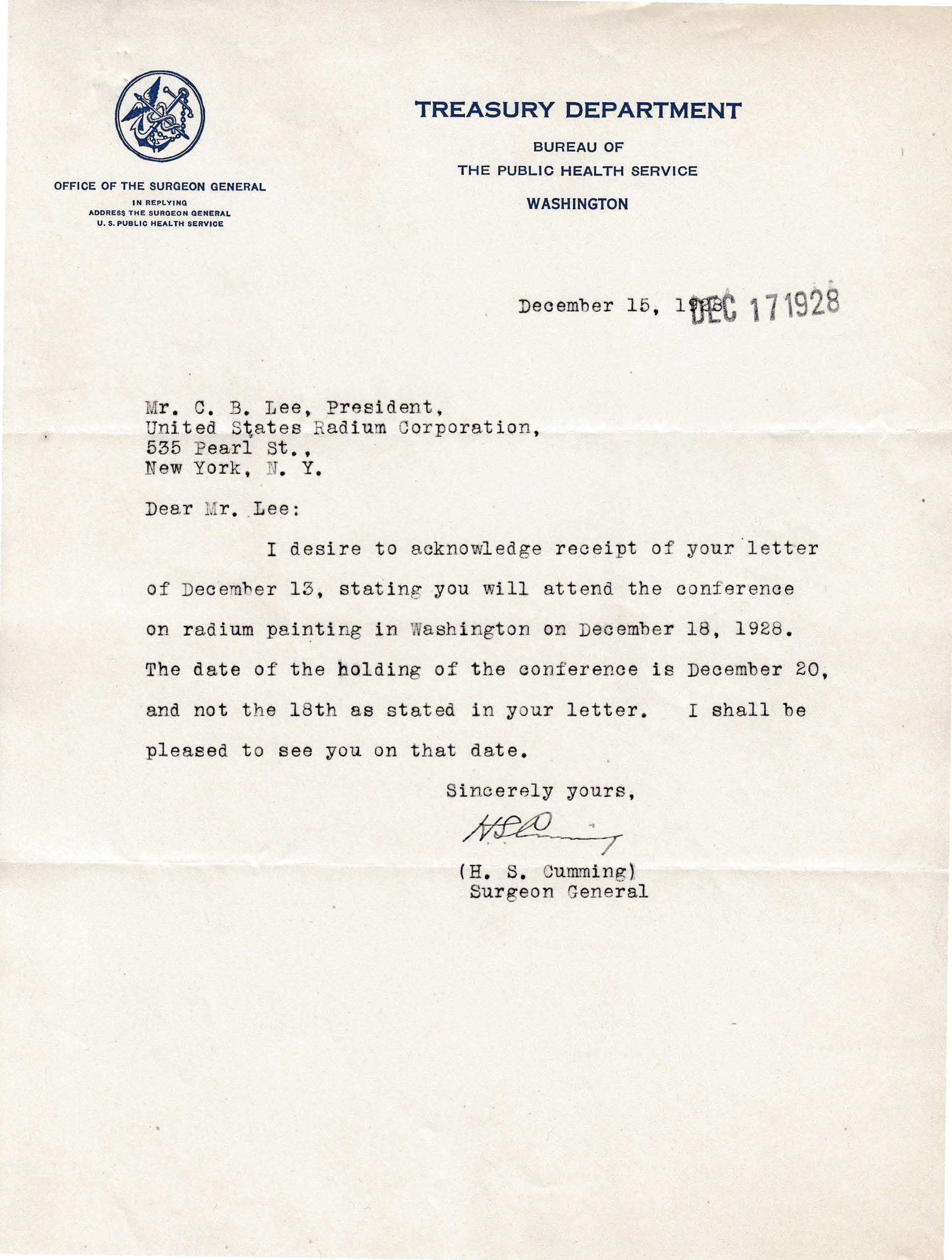 Letters Received to C.B. Lee, December 15, 1928