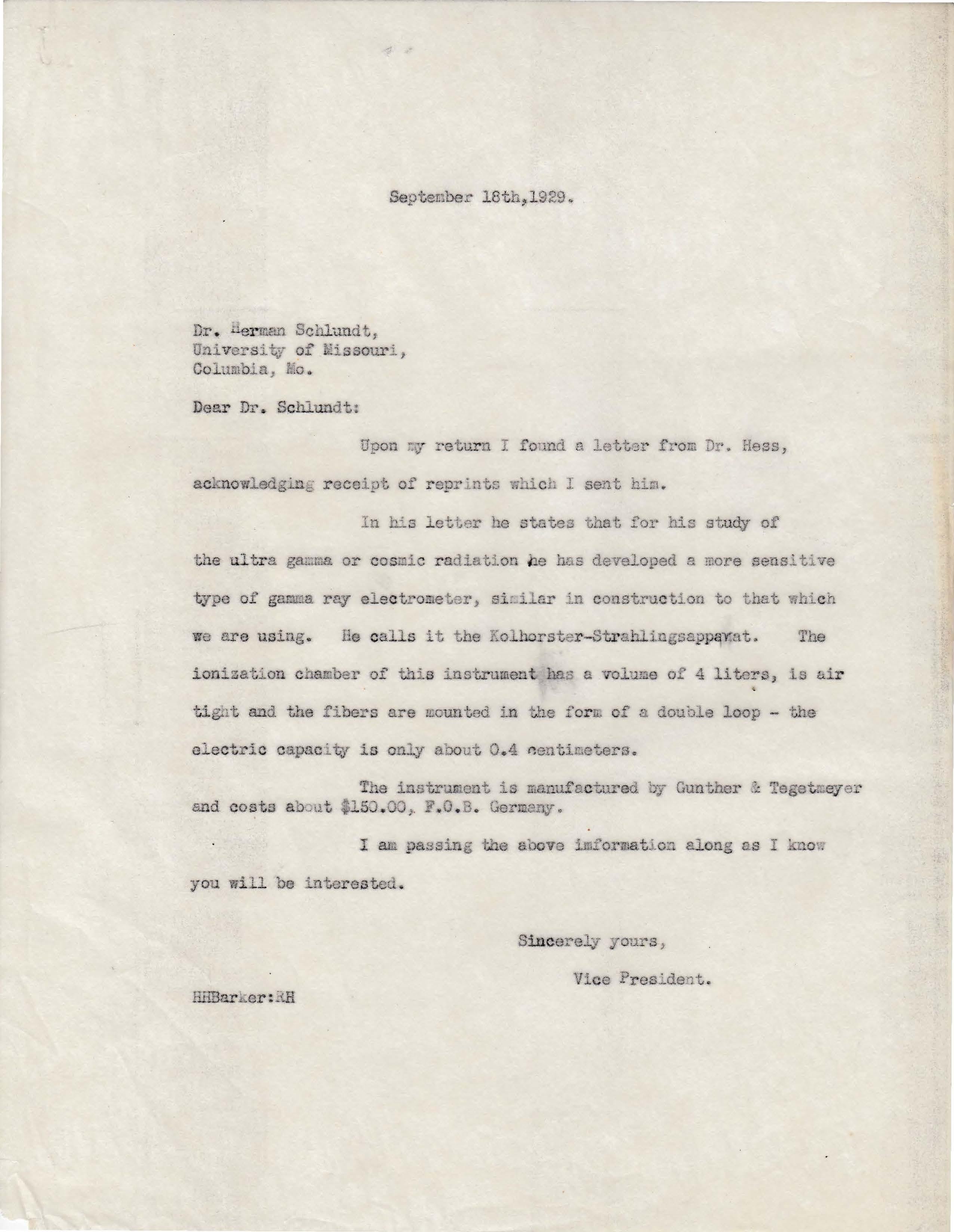 Letters Sent to Dr. Herman Schlundt, September 18, 1929
