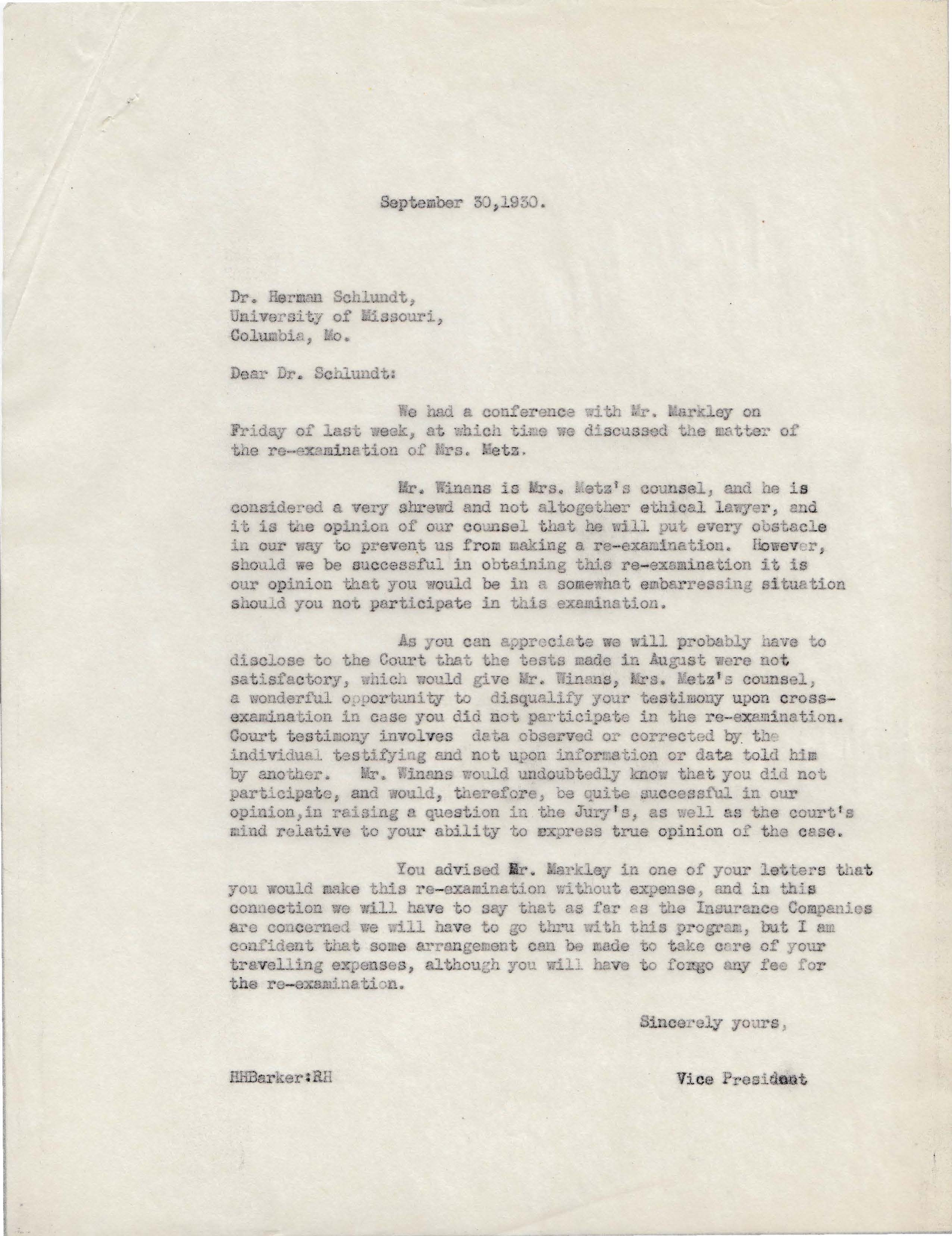 Letters Sent to Dr. Herman Schlundt, September 30, 1930
