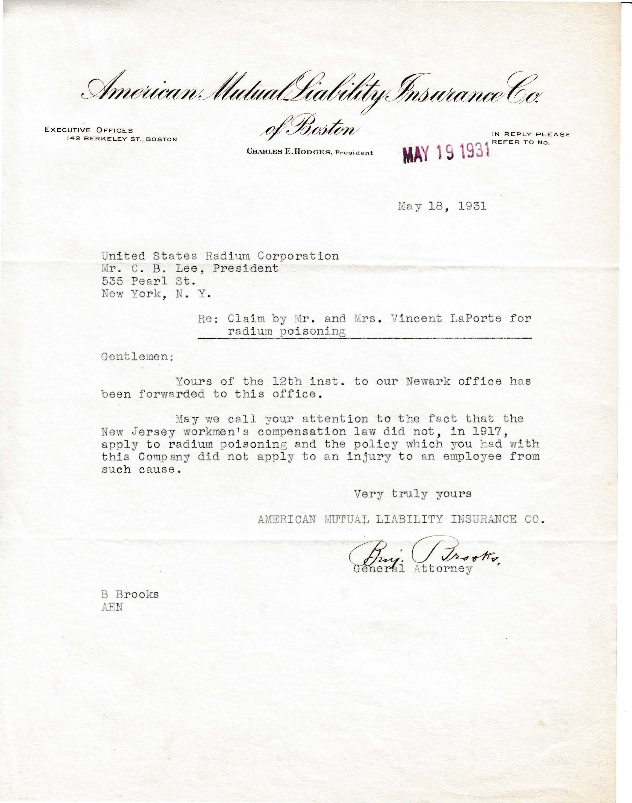 Letters Received to C.B. Lee, May 18, 1931